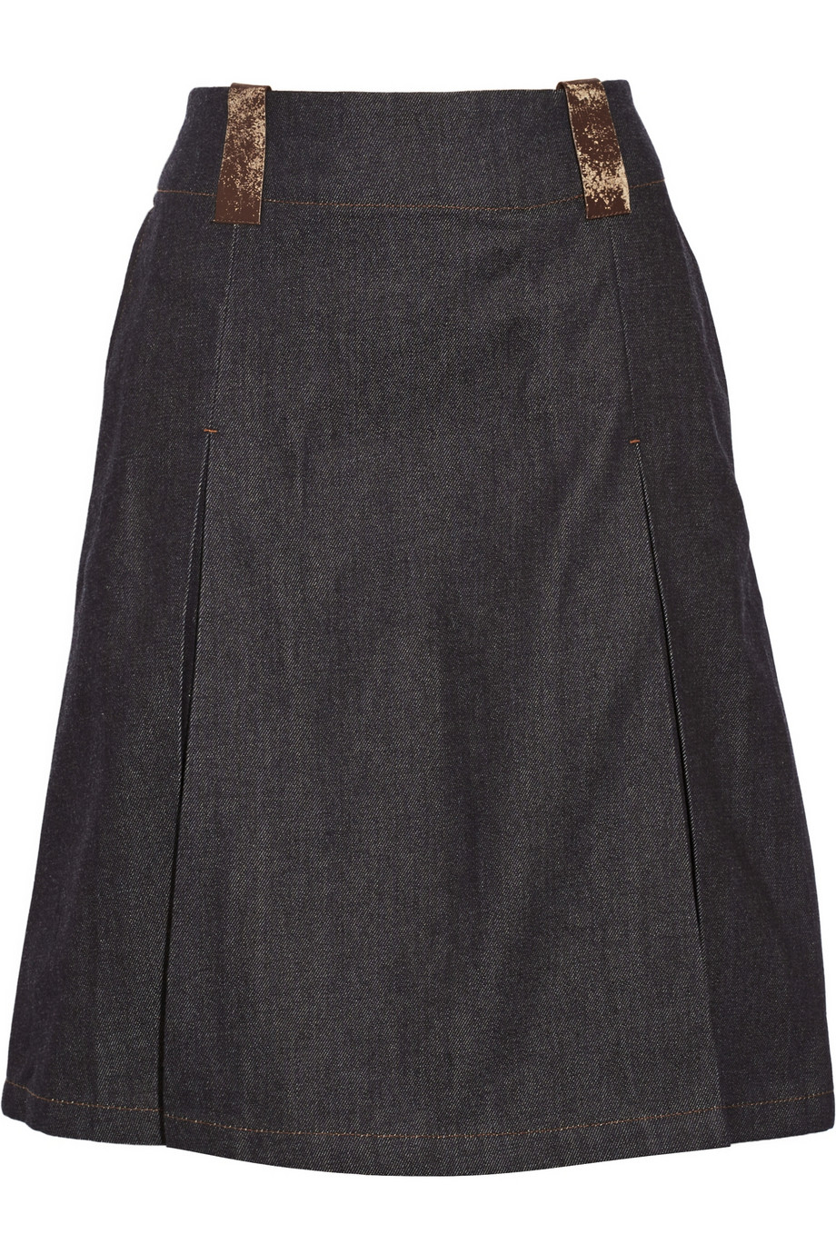 acne studios kate leather trimmed denim skirt in blue lyst