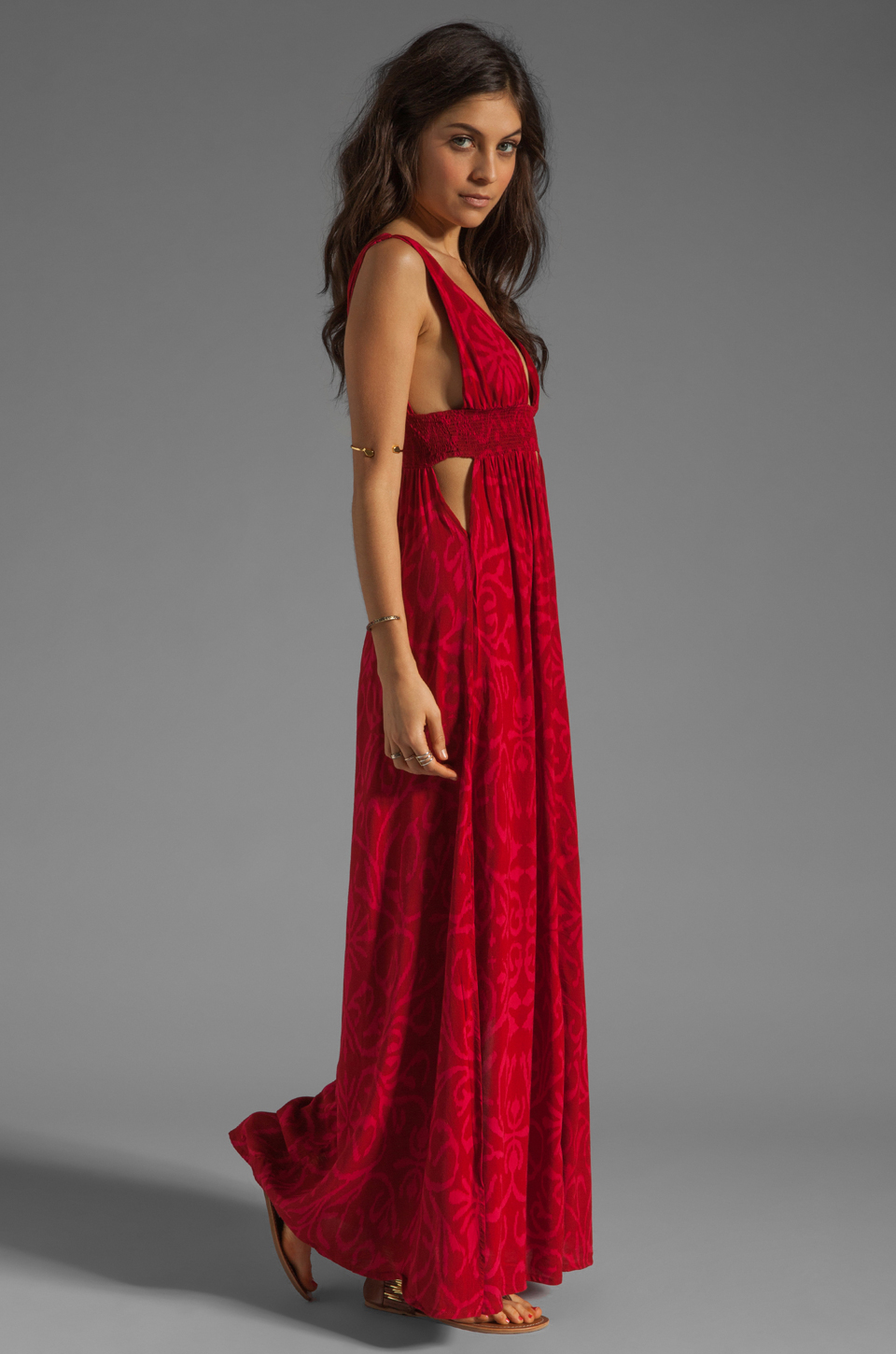 Lyst Indah Anjeli Empire Maxi Dress In Antik Red In Red