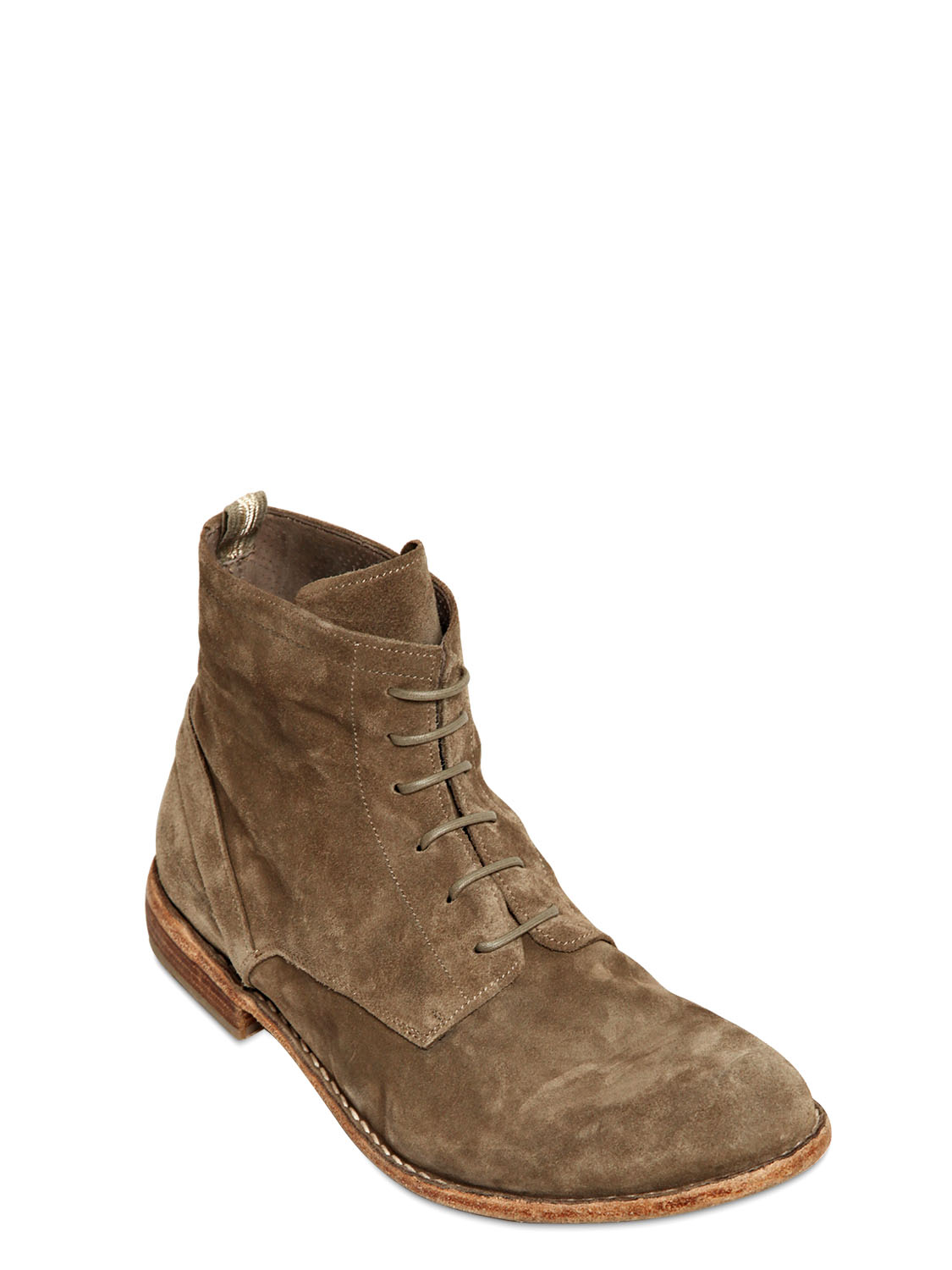 officine creative soft suede laceup ankle boots in brown