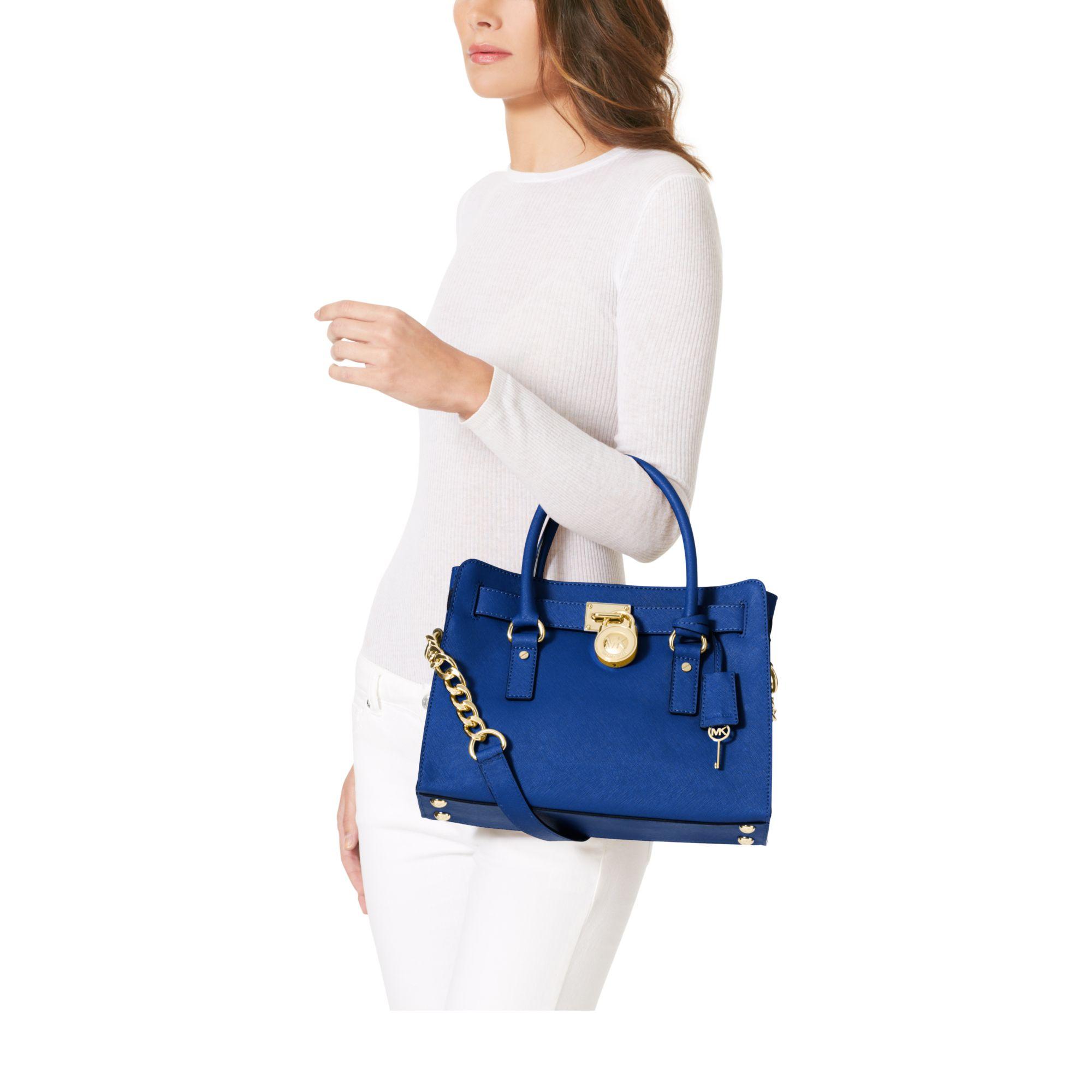 e33a0634e09c Michael Kors Hamilton Saffiano Leather Medium Satchel in Blue - Lyst