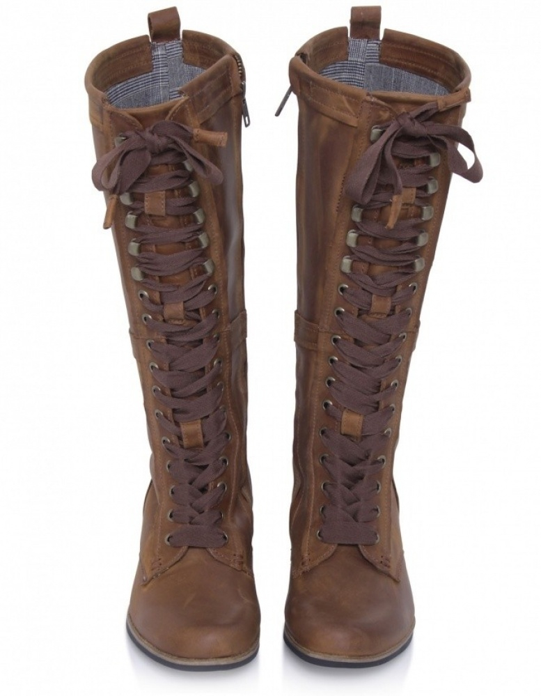 J Shoes Empire Long Lace Boots In Brown Lyst