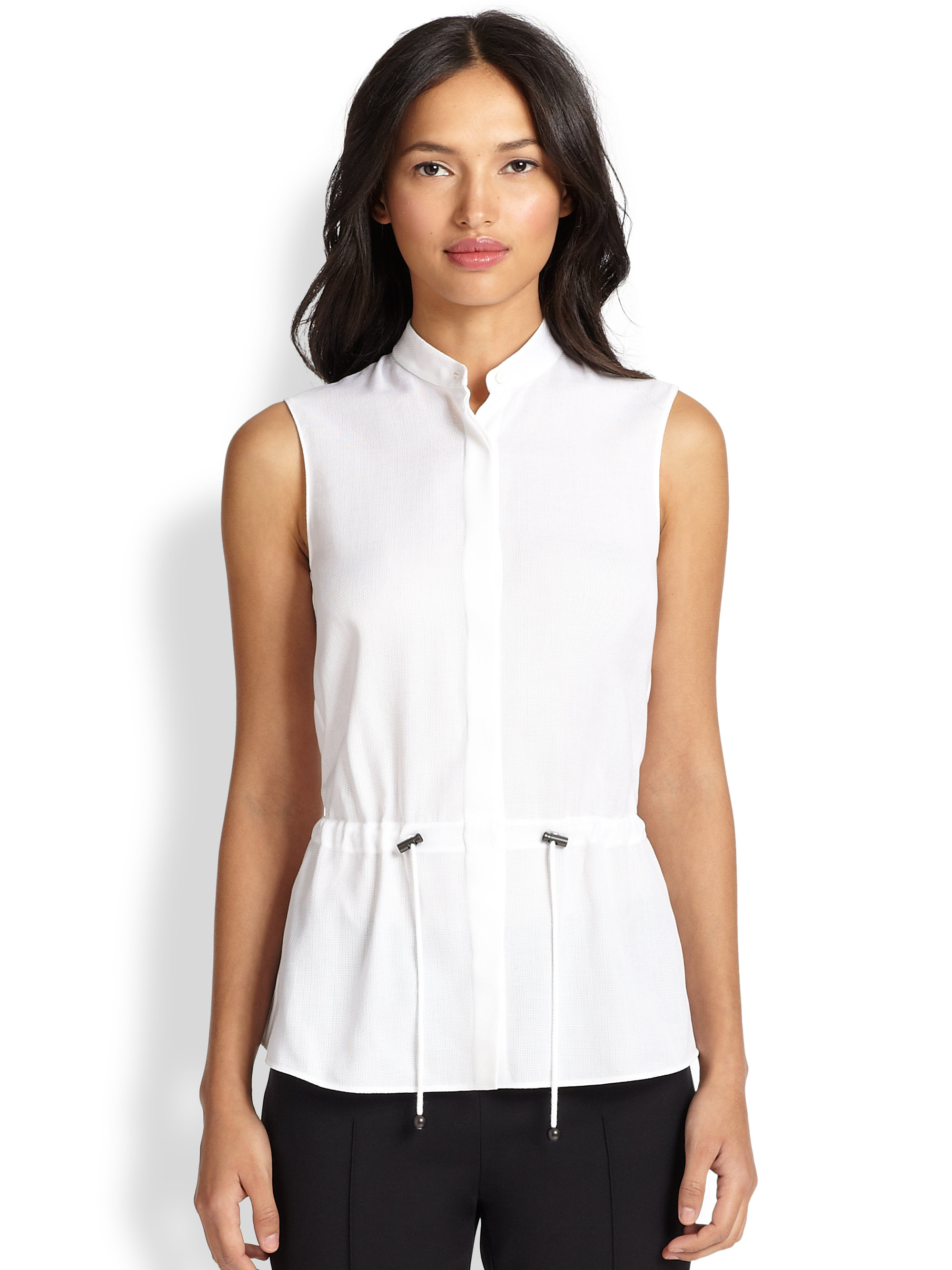 Lyst Akris Punto Contrast Collar Sleeveless Shirt In White