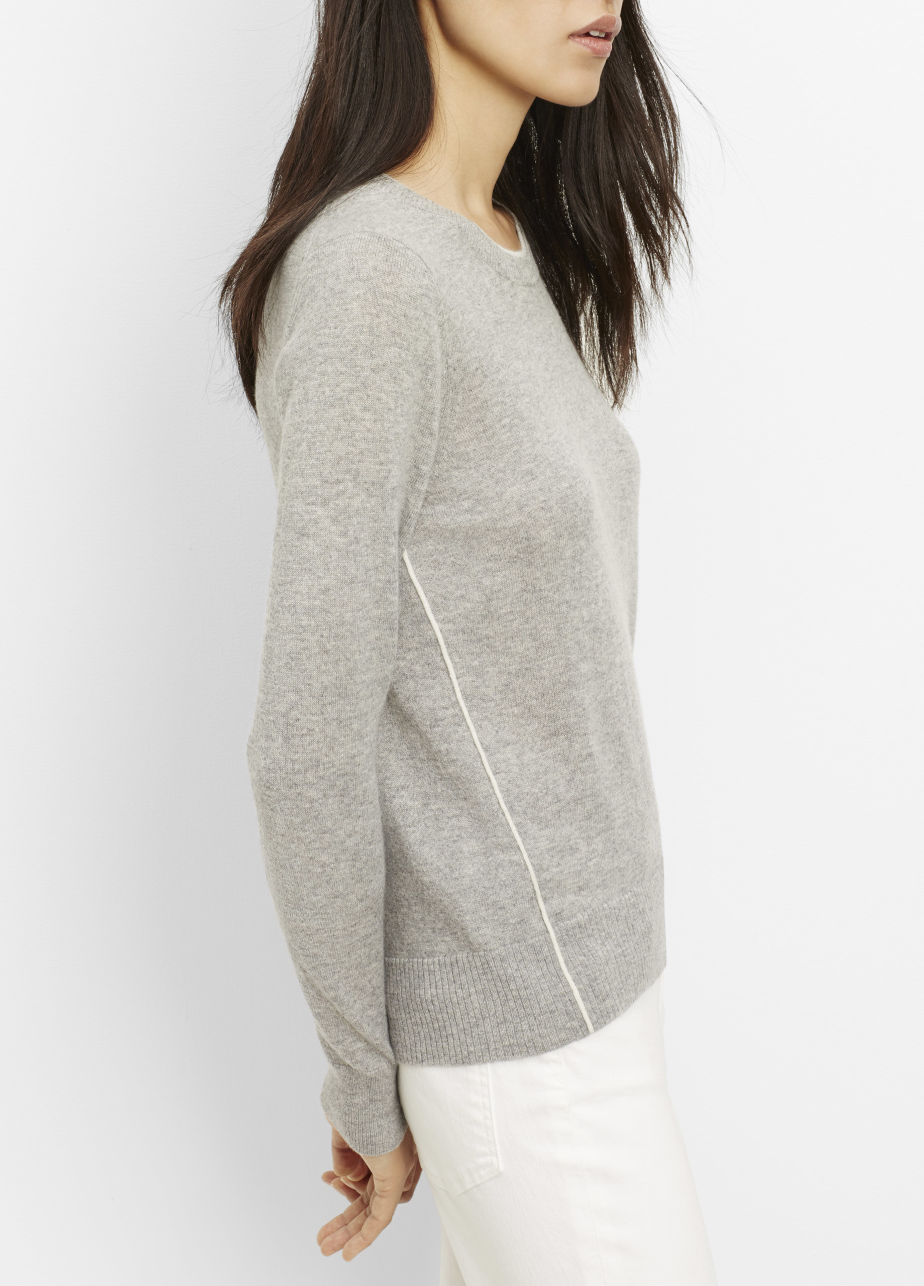 Vince Cashmere Crew Neck Sweater With Contrast Tipping in Gray | Lyst