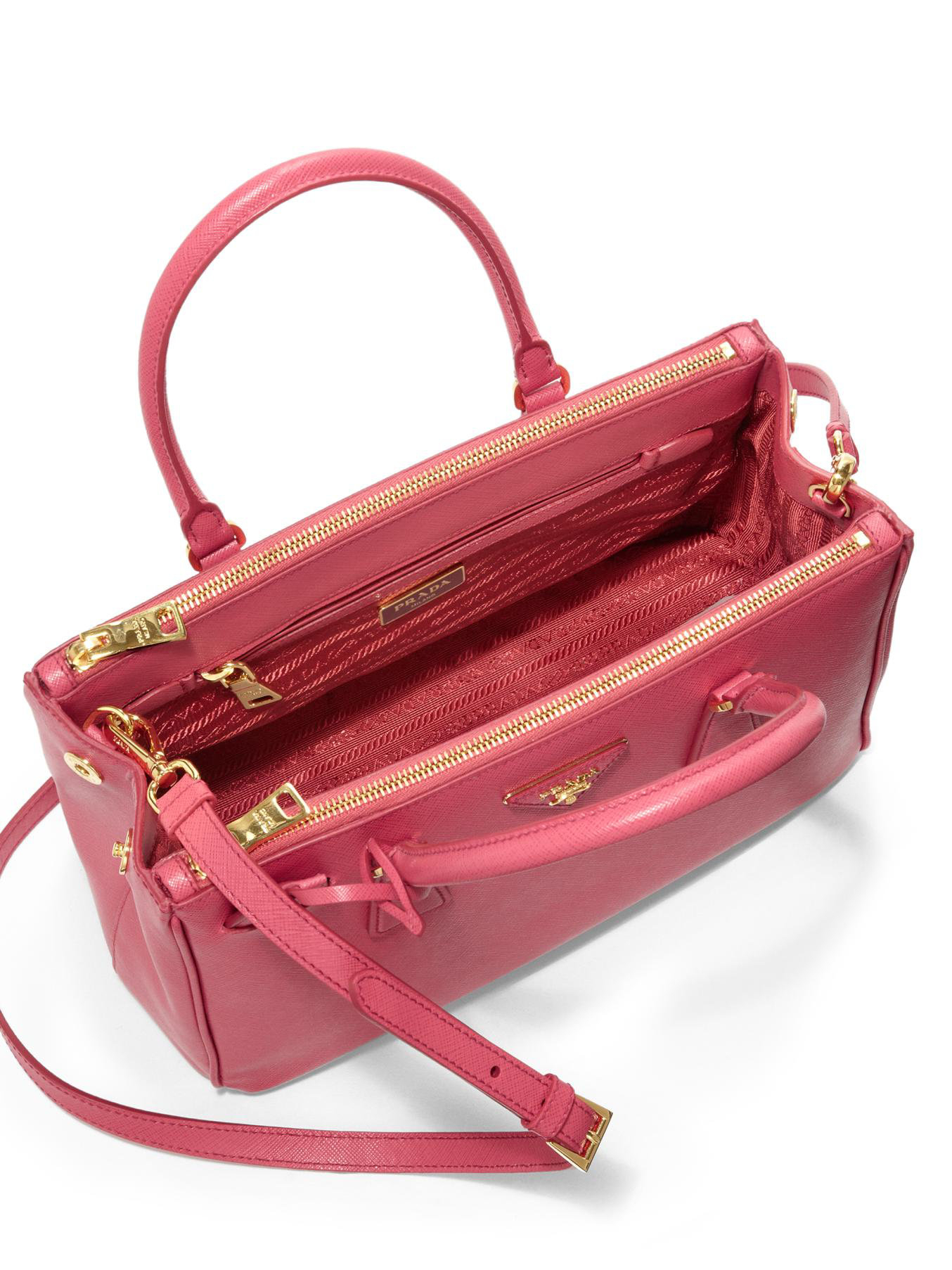 prada shoulder bag leather - Prada Saffiano Lux Small Double-zip Tote in Pink (PEONIA) | Lyst