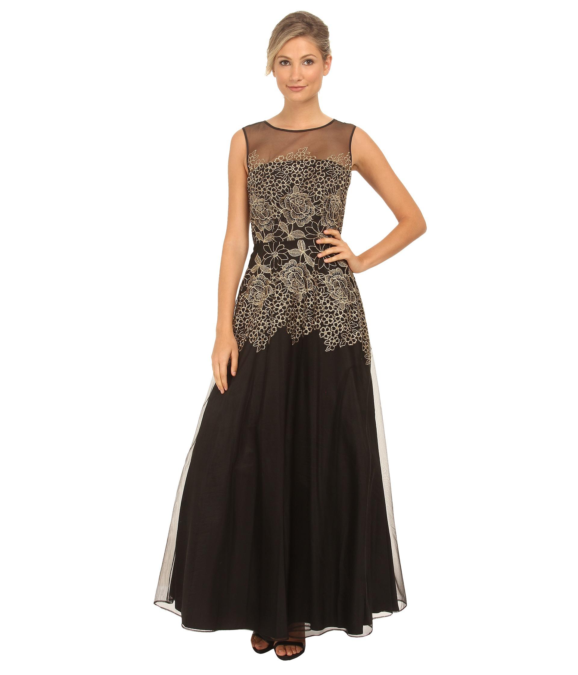 Tahari dresses black and white lace