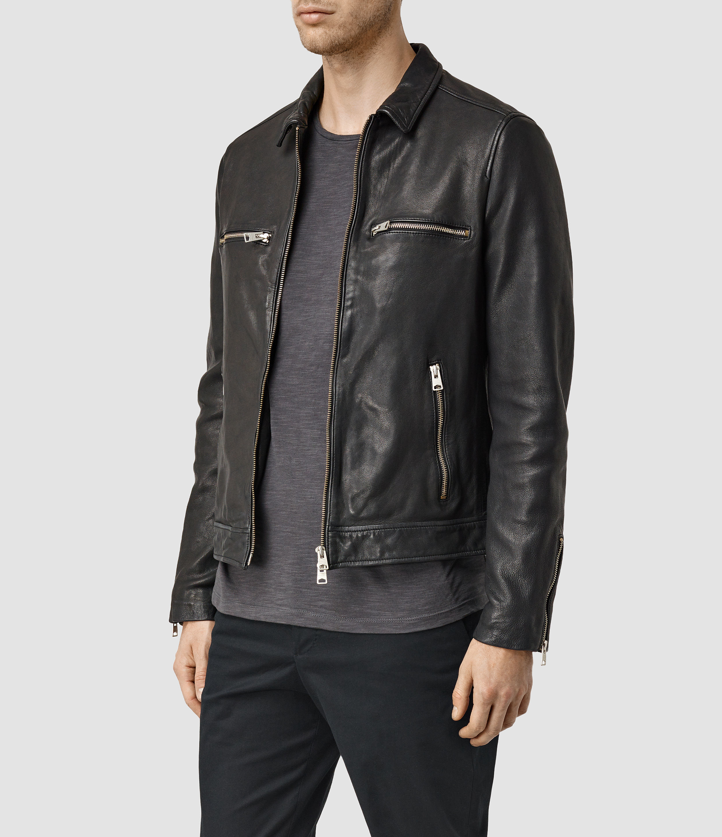Lyst Allsaints Austell Leather Jacket Usa Usa In Black