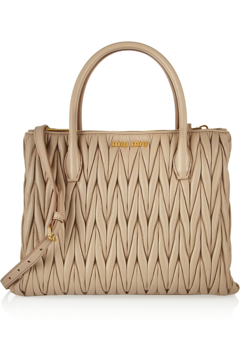 Lyst - Miu Miu Matelassé Leather Tote in Natural 1edee2eca3dd0