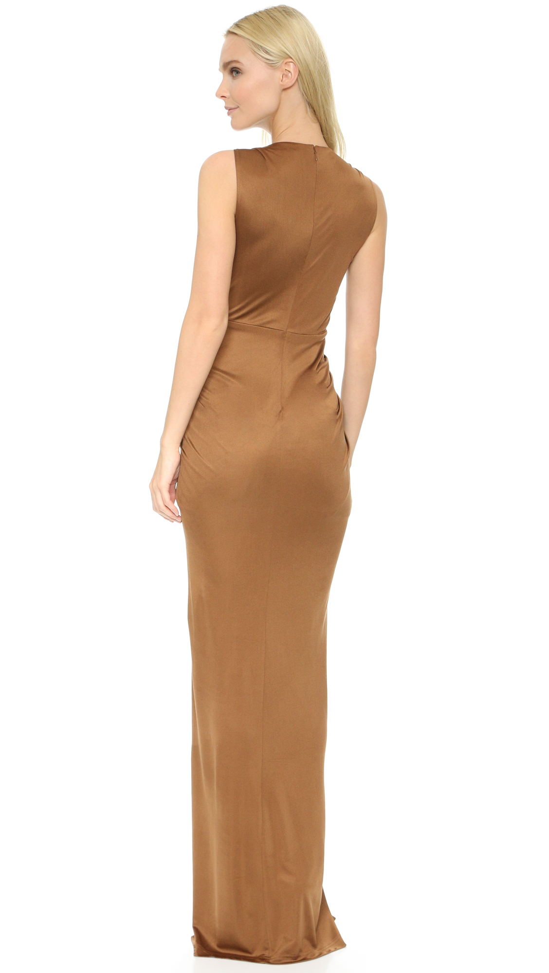 4335c6e14a Lyst - Veronica Beard Dragonfruit Deep V-neck Maxi in Brown
