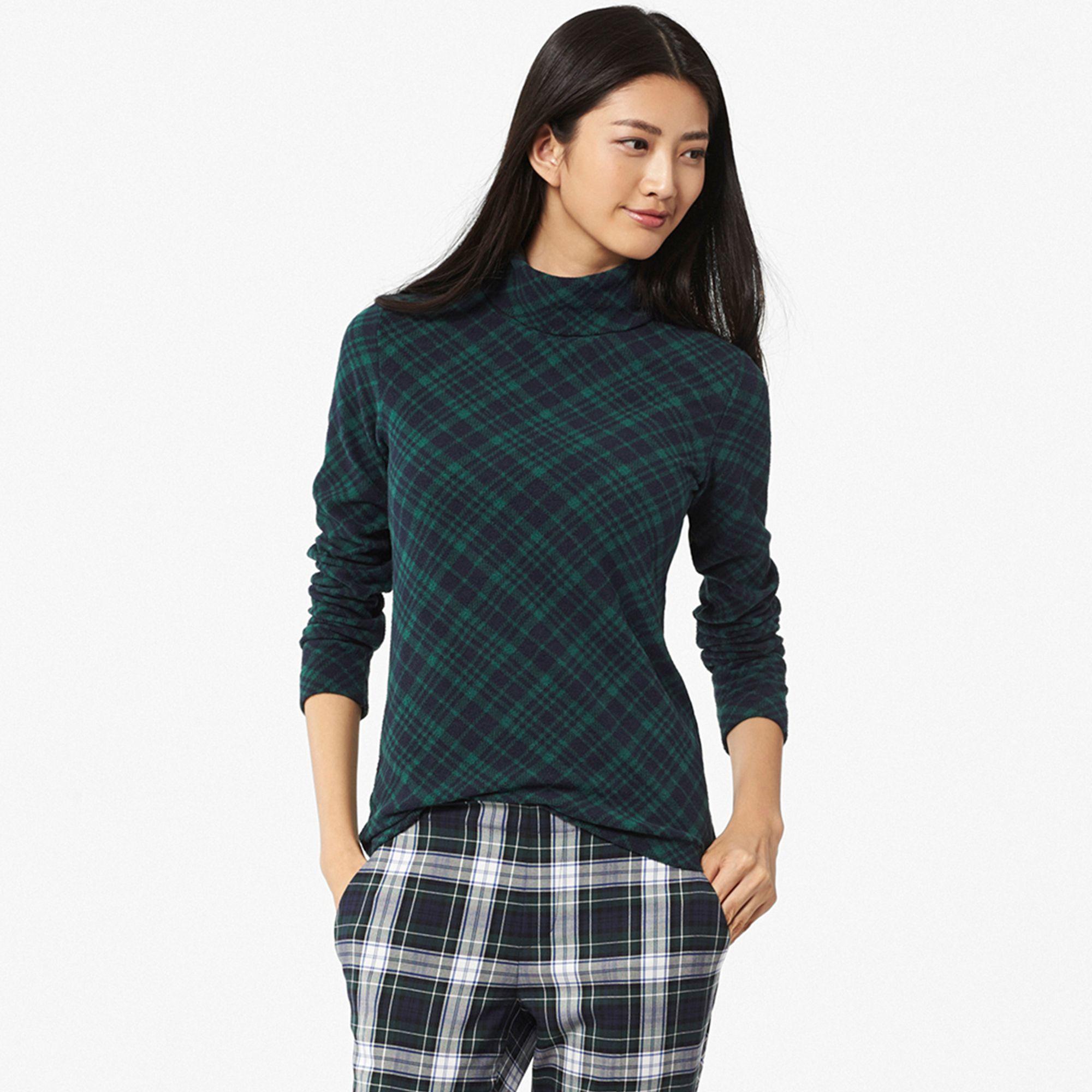 Uniqlo women heattech fleece turtleneck long sleeve t for Long sleeve black turtleneck shirt