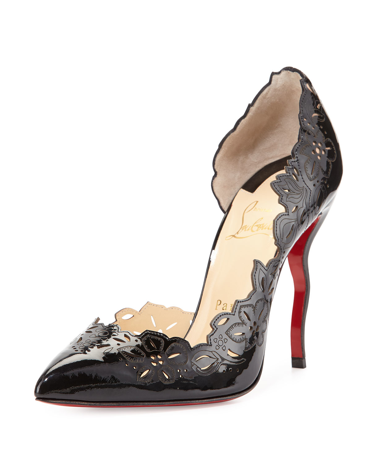 Christian louboutin Beloved Laser-Cut Patent Red Sole Pump ...