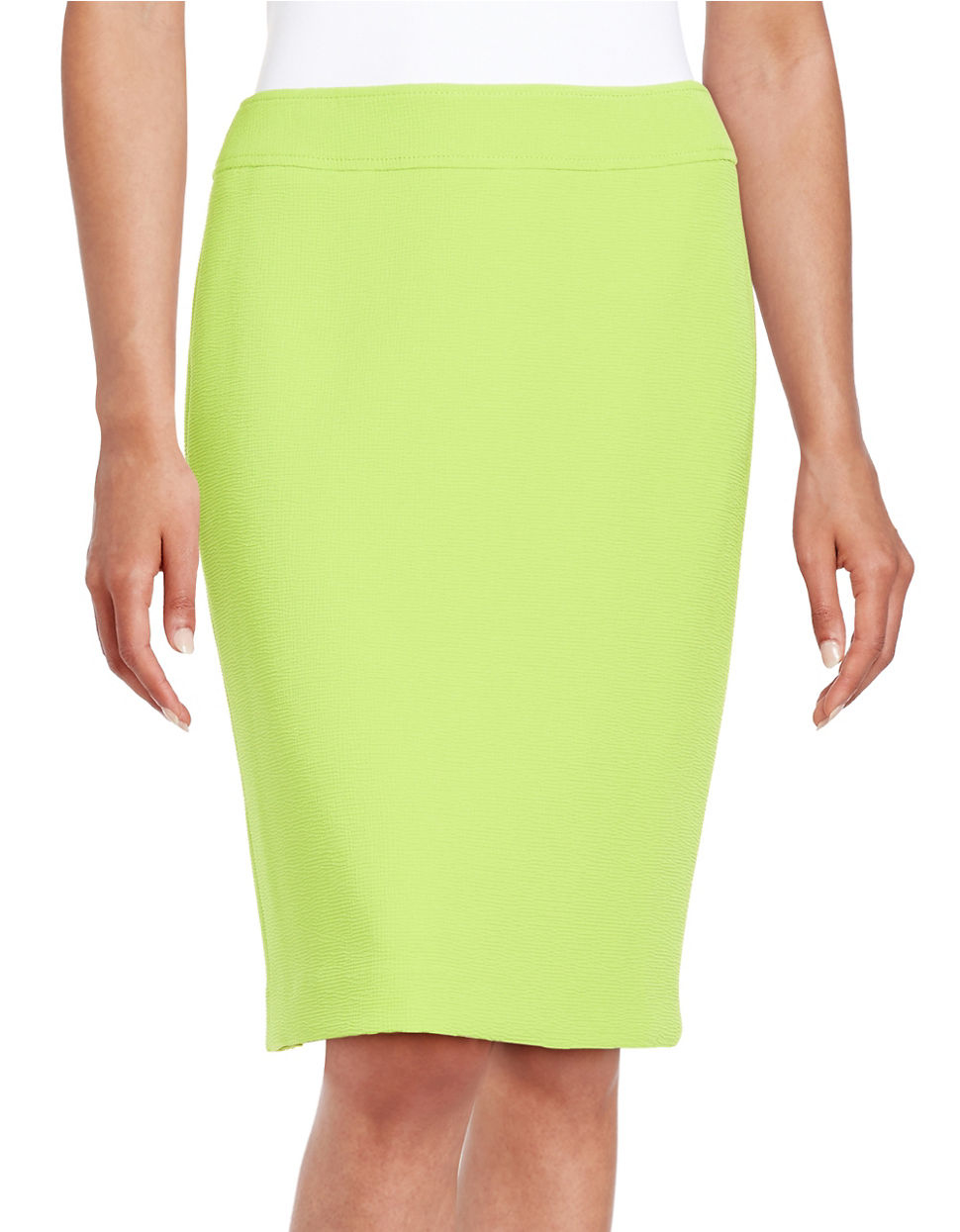 tahari textured pencil skirt in green lime green