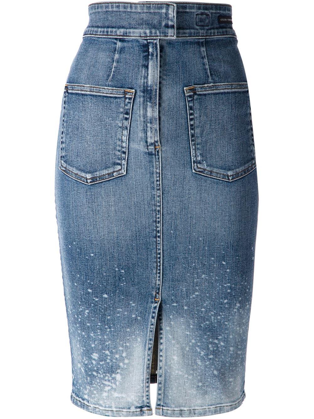 citizens of humanity splatter effect denim skirt in blue