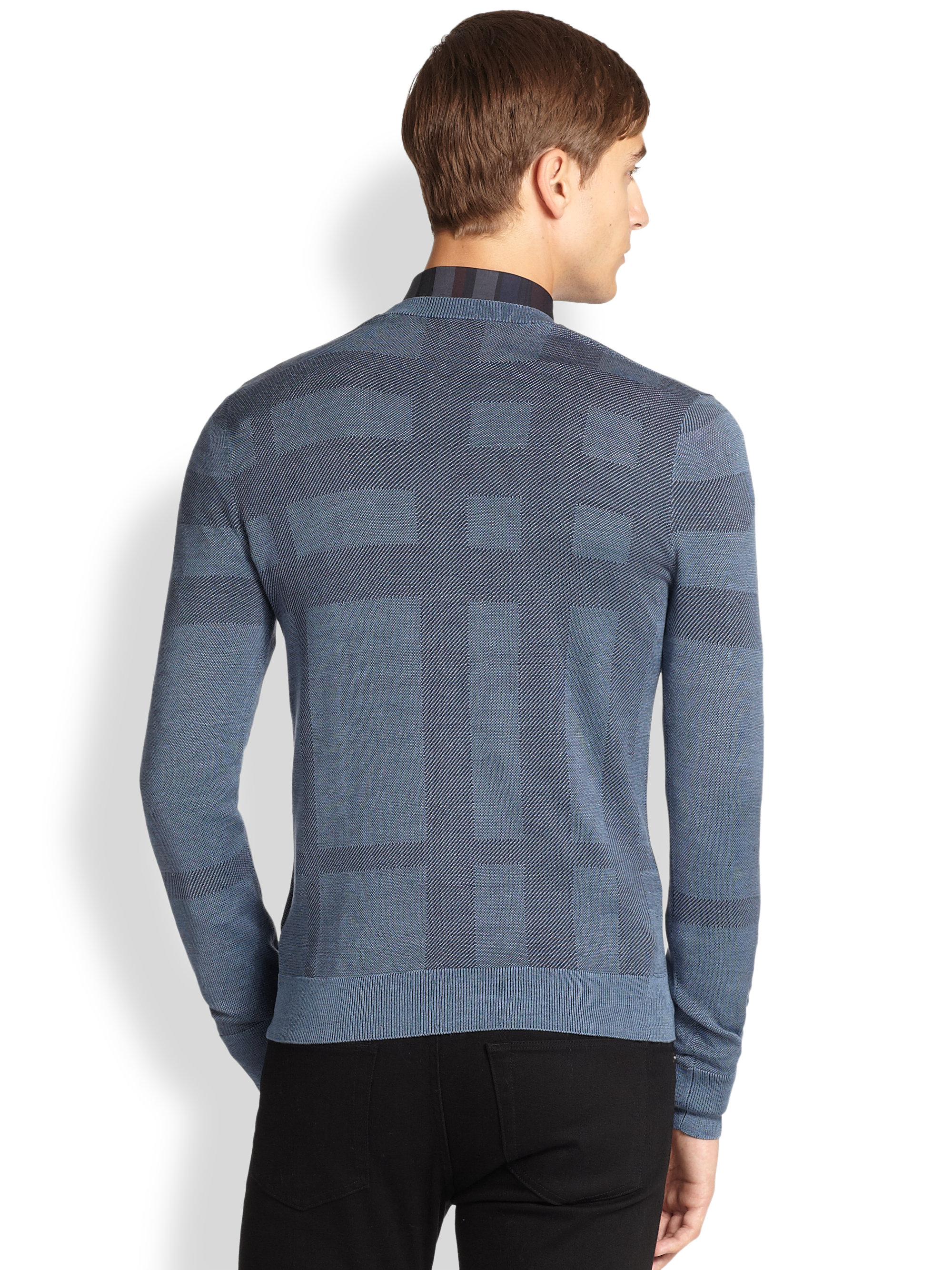 Burberry Väska 2014 : Lyst burberry elmhurst check sweater in blue for men