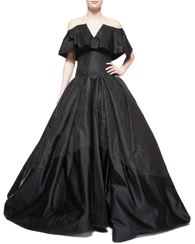 Zac Posen Cape Overlay Ball Gown In Black Lyst