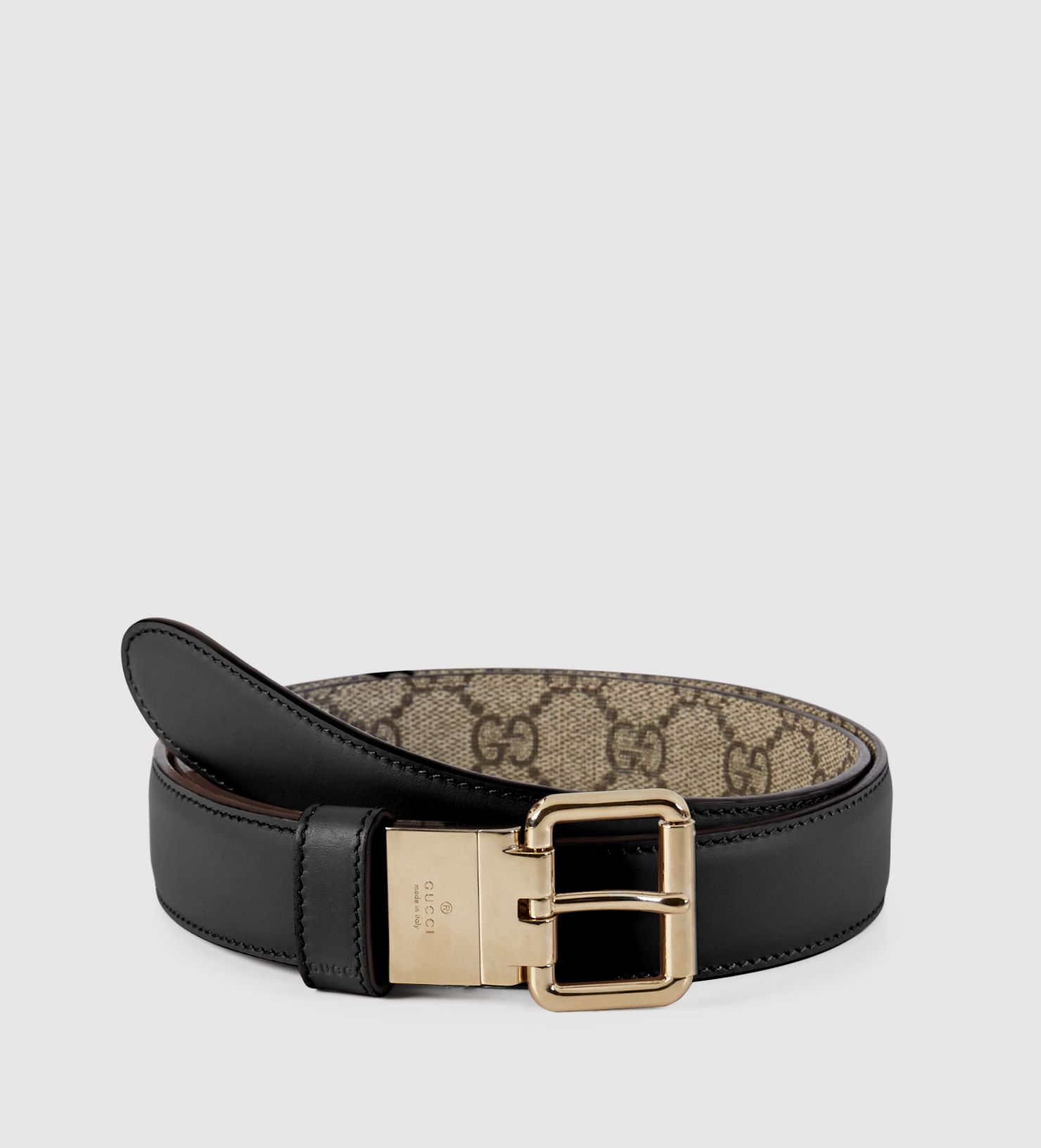 32a144257b7 Gucci Reversible Leather And Gg Supreme Belt in Black - Lyst