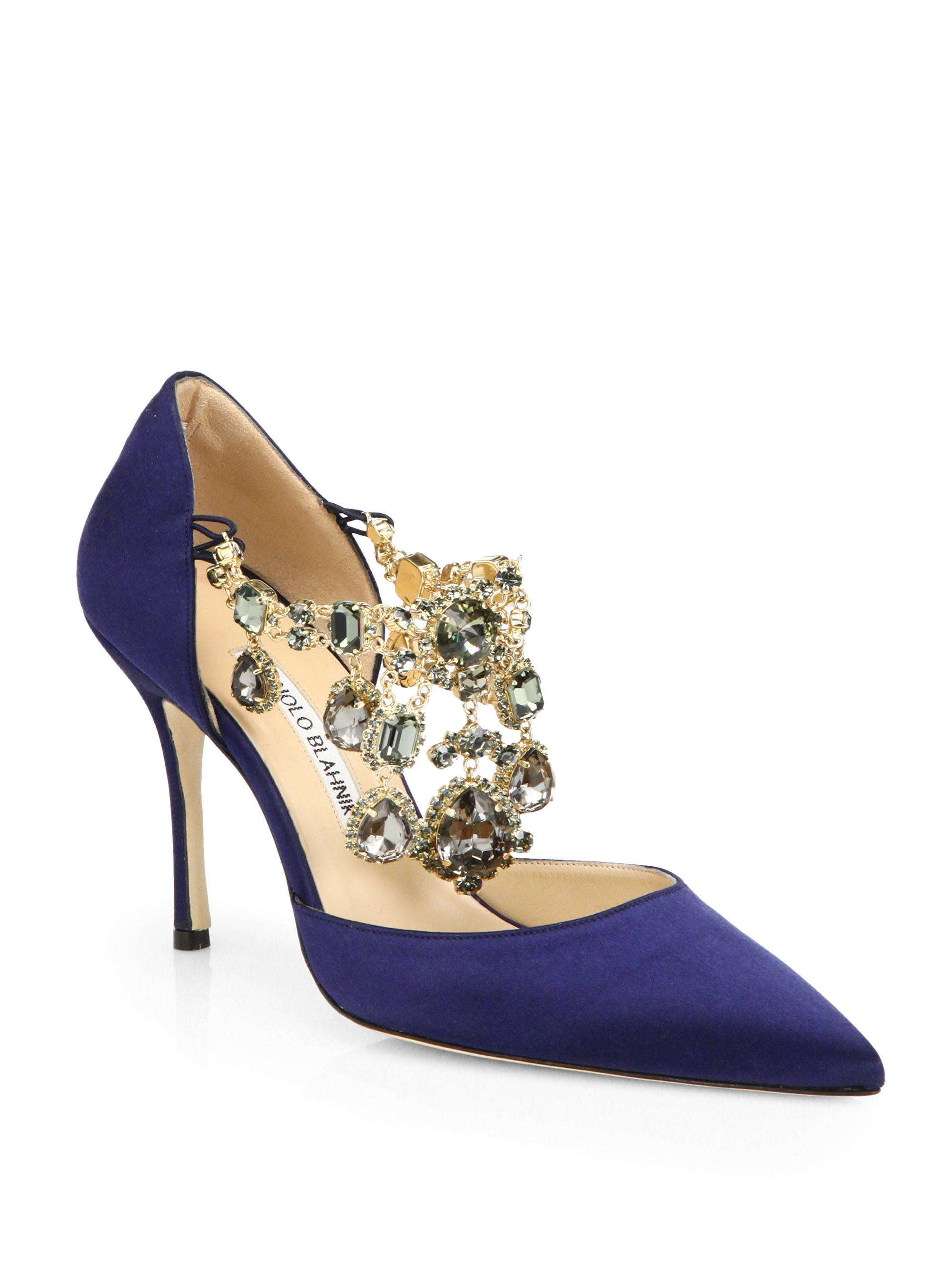 Lyst manolo blahnik zullin satin jeweled d 39 orsay pumps for Who is manolo blahnik