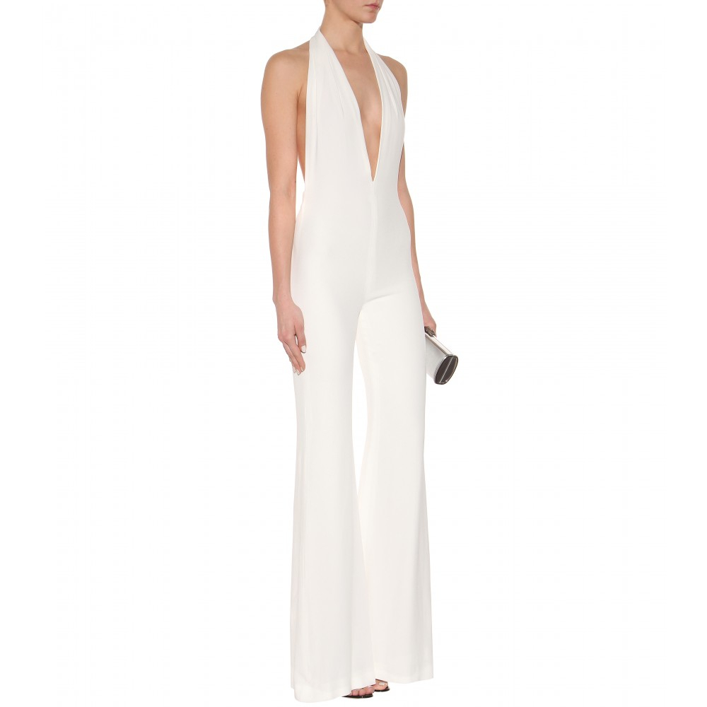 dad6c9bf436 Balmain Crepe Jumpsuit in White - Lyst