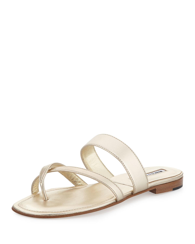 6d7490b02a14a Lyst - Manolo Blahnik Susa Leather Sandals in Metallic