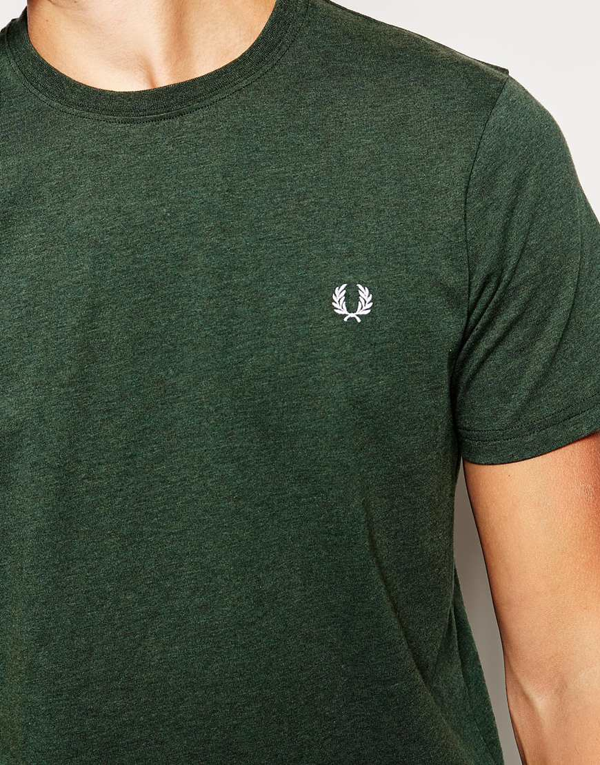 fred perry t shirt in crew neck ivy green in green for men lyst. Black Bedroom Furniture Sets. Home Design Ideas