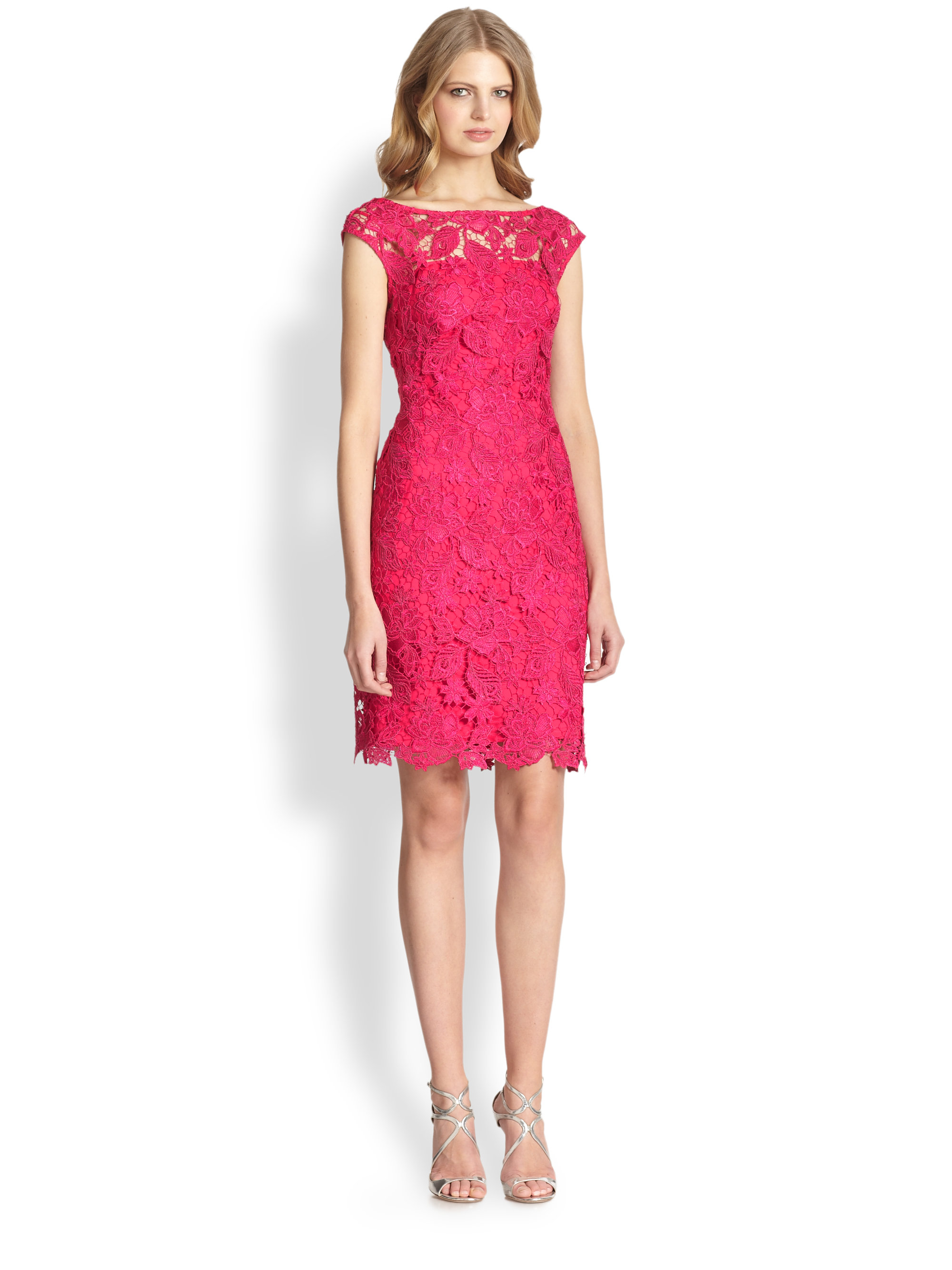 Lyst - Ml monique lhuillier Cap-Sleeve Lace Dress in Pink