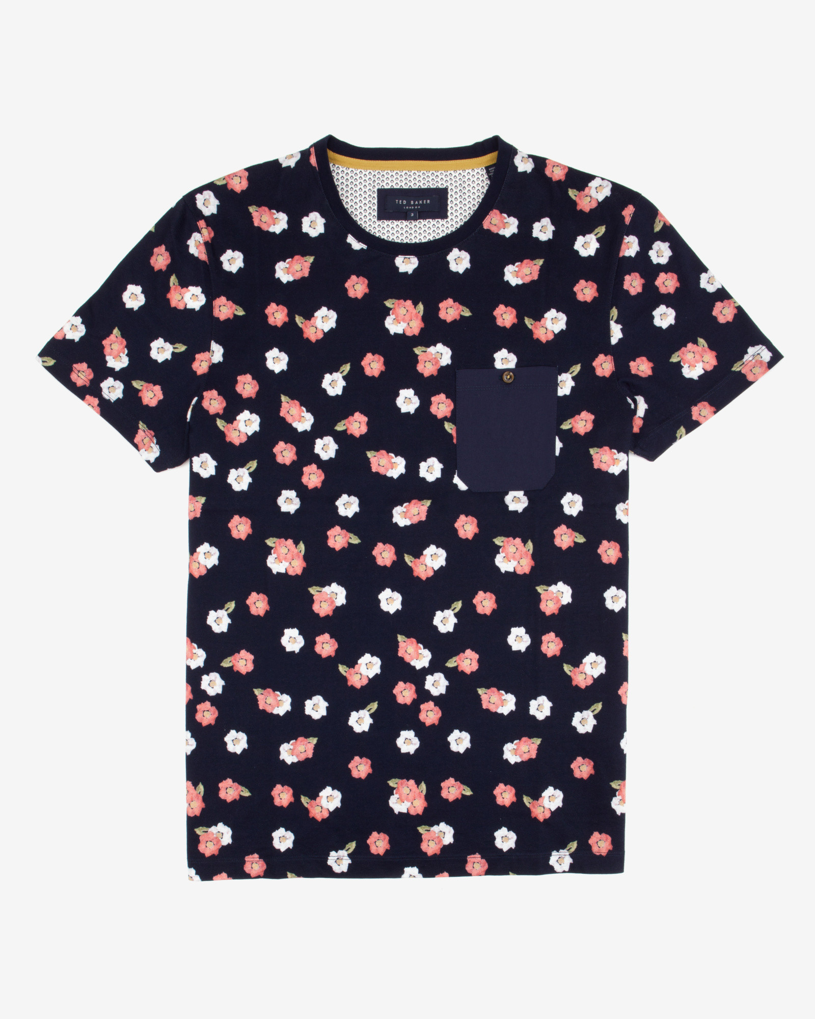 Ted baker printed floral t shirt in blue for men navy lyst for Ted baker blue shirt