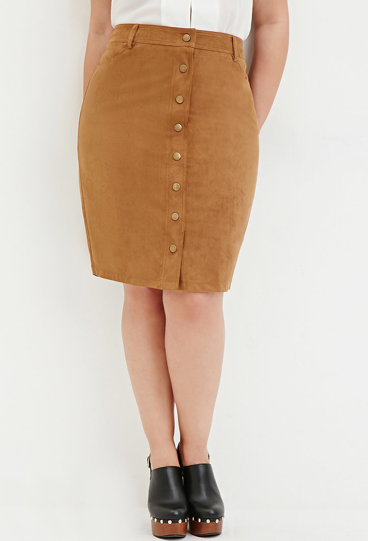 0c0128dbda1b2 Lyst - Forever 21 Plus Size Button-front Faux Suede Skirt in Natural