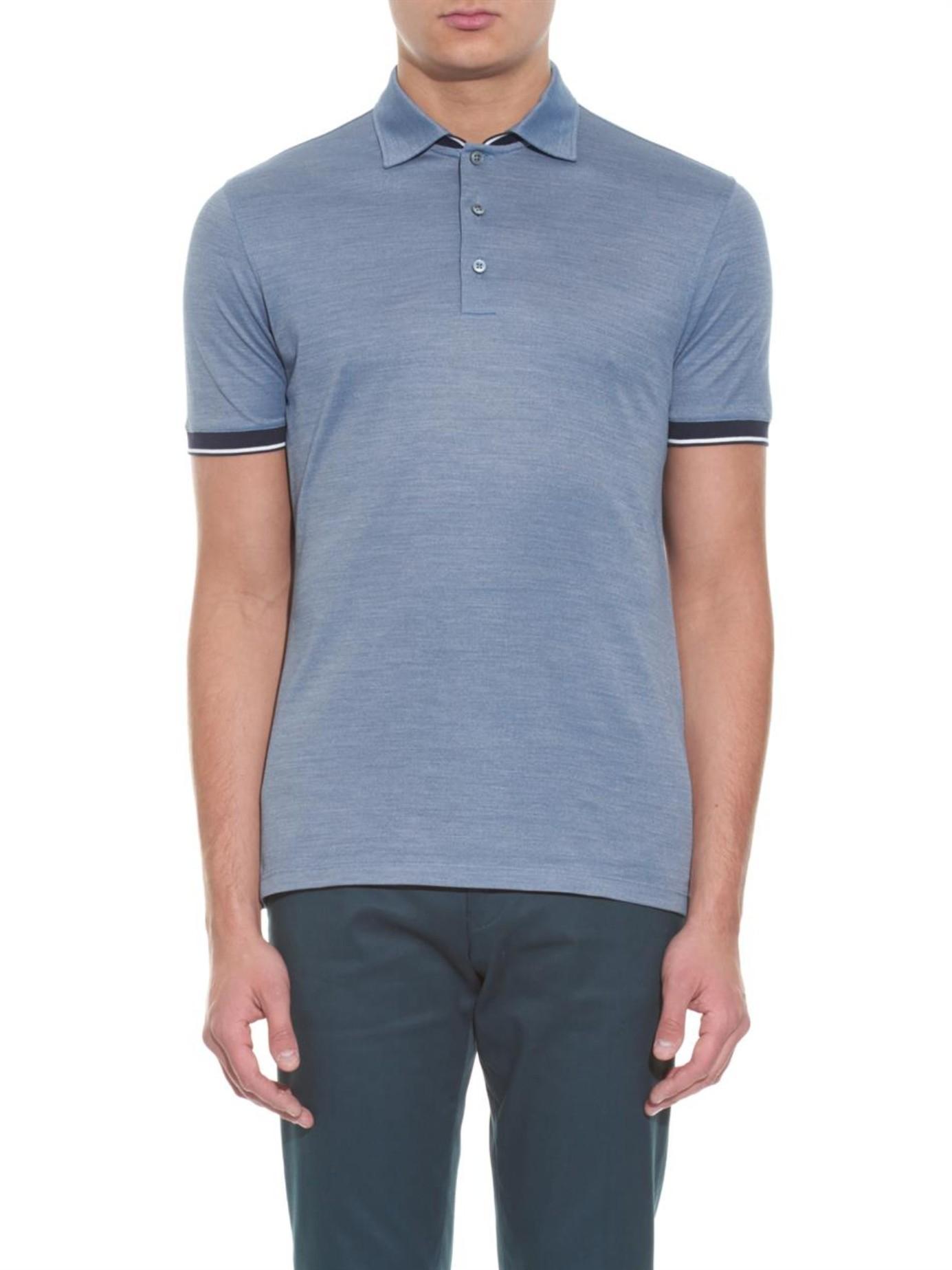 ermenegildo zegna silk and cotton blend polo shirt in blue for men lyst. Black Bedroom Furniture Sets. Home Design Ideas