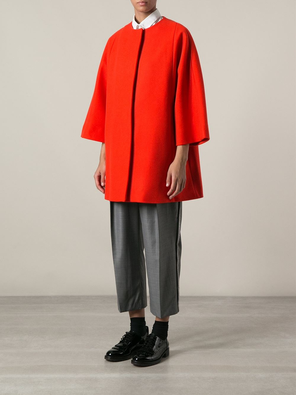 Msgm Oversize Collarless Coat in Red | Lyst