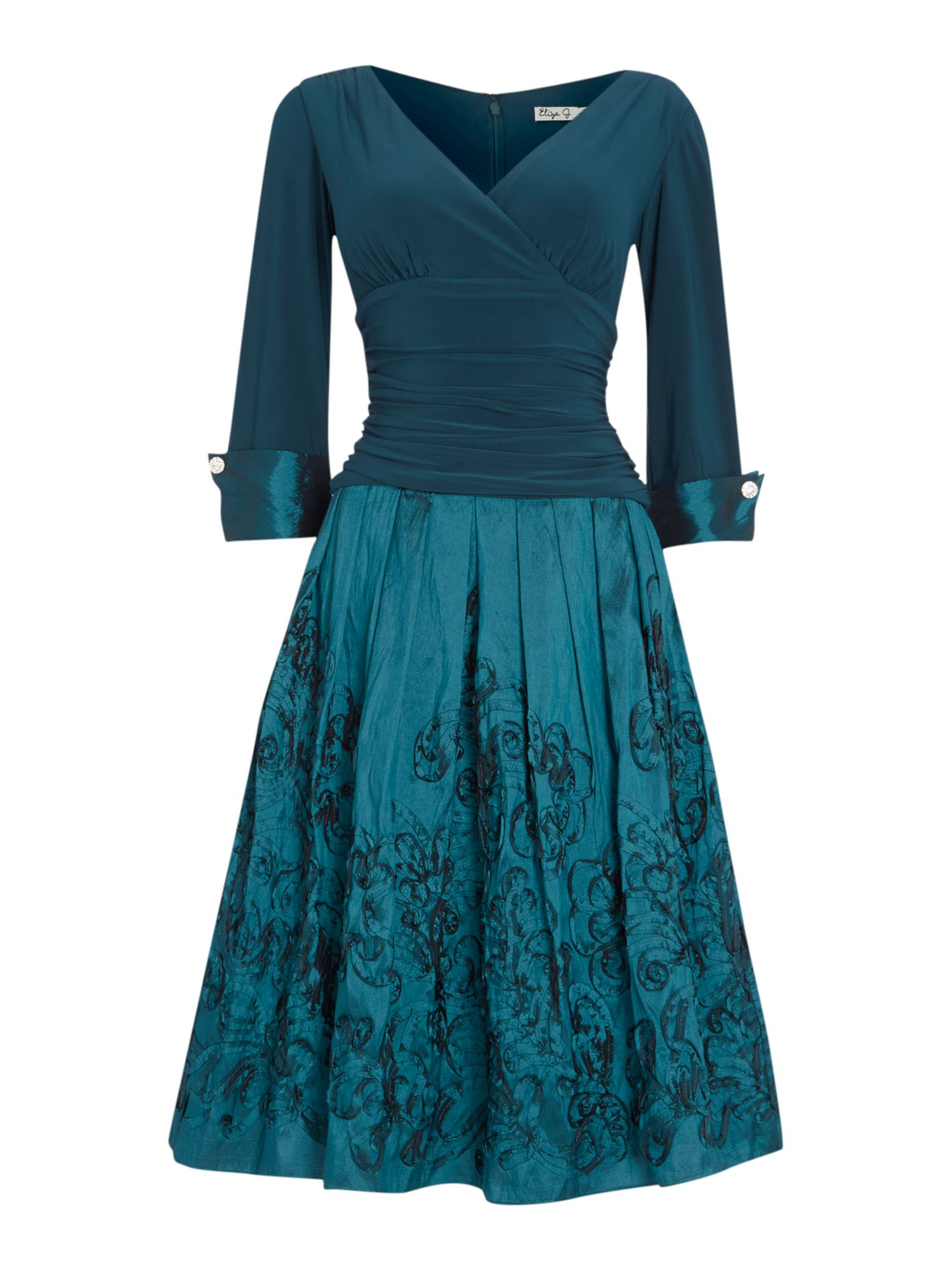 eliza j 34 cuff sleeve dress with pleated skirt in teal lyst