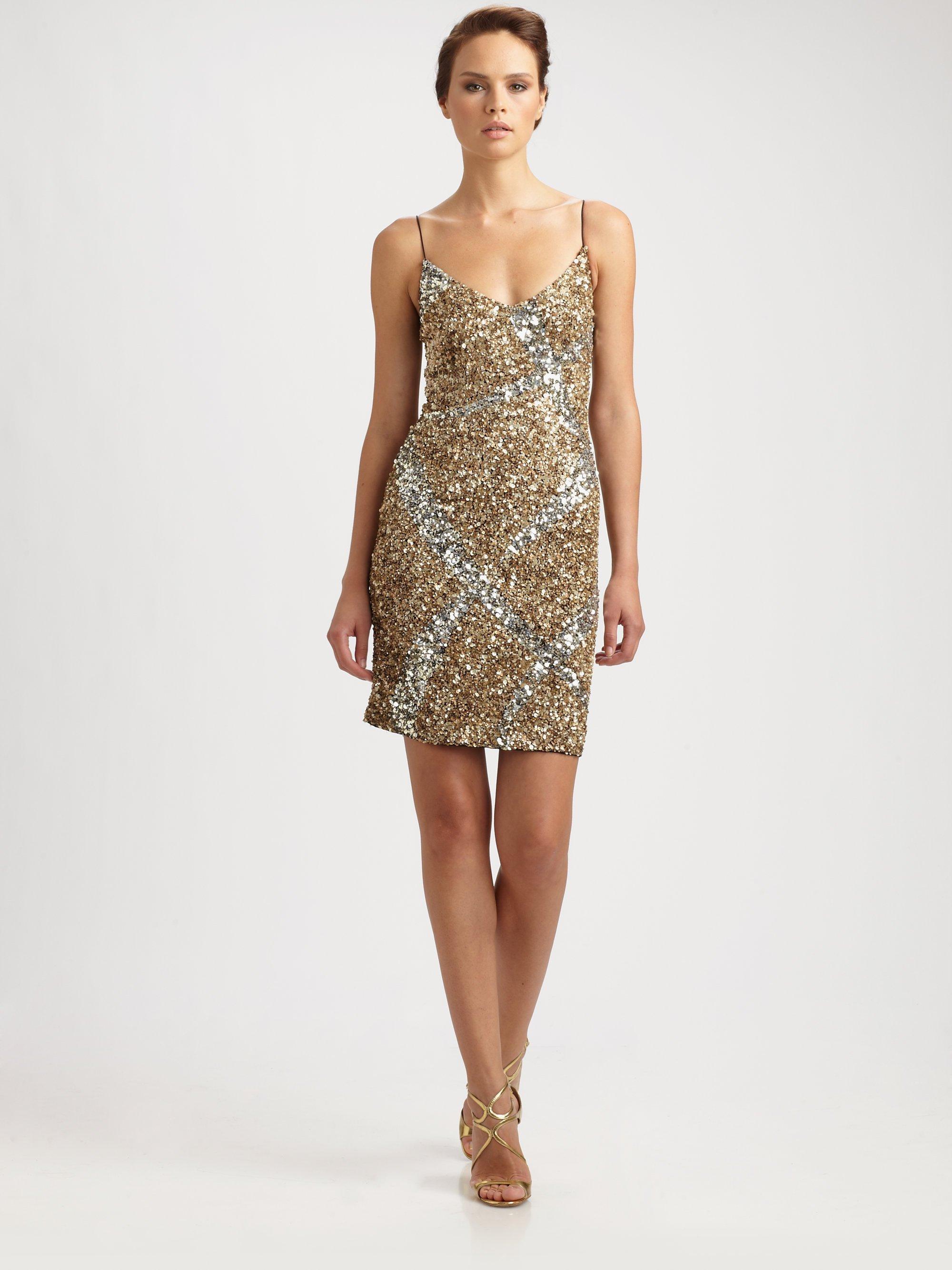 Theia Sequin Slip Dress in Metallic - Lyst