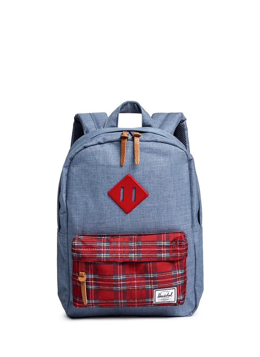 6b68bff4b5 Herschel Supply Co.  heritage  Tartan Print Kids Backpack in Blue - Lyst
