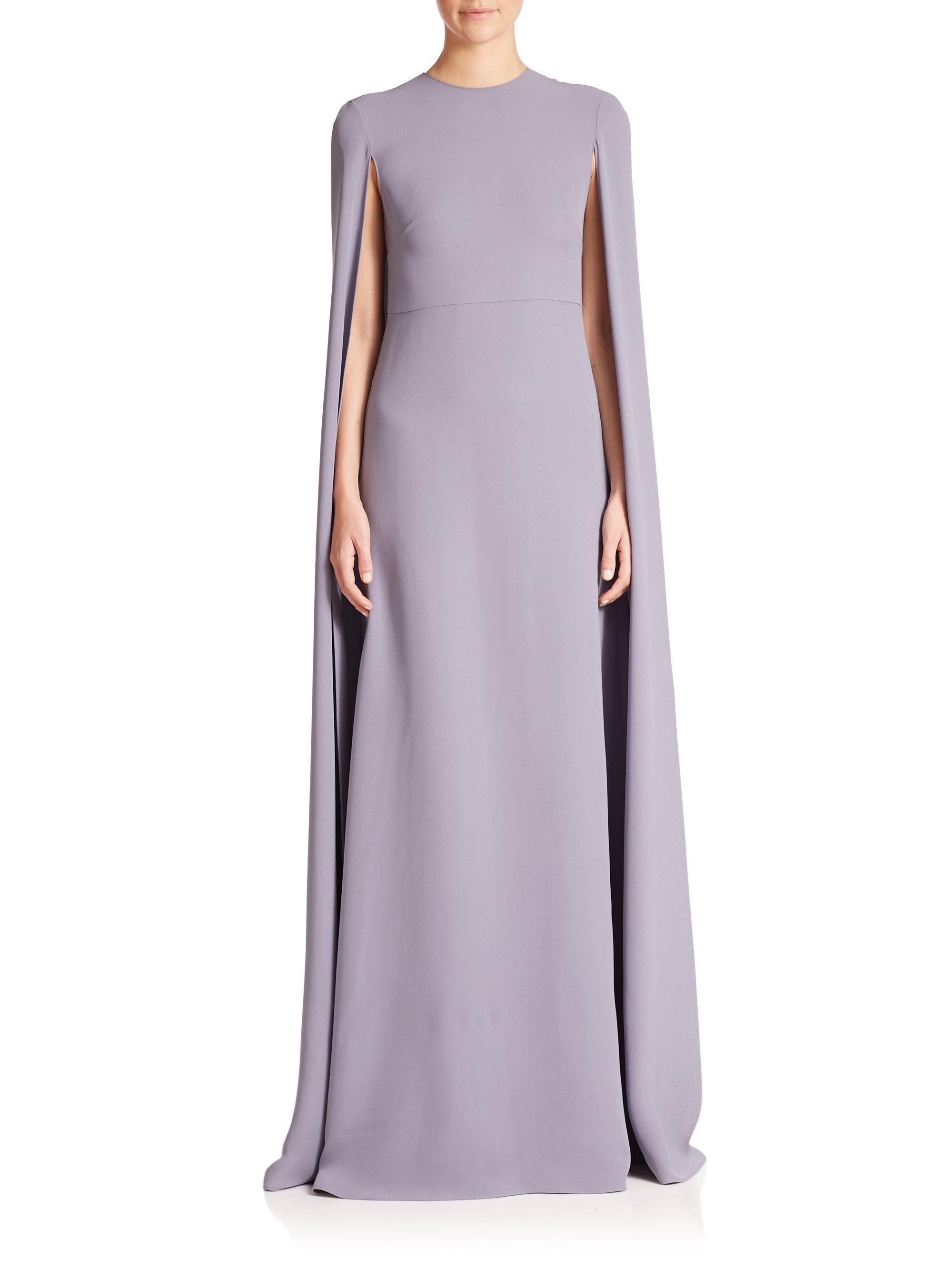 752b3e9ebf Valentino Silk Cape Gown in Blue - Lyst