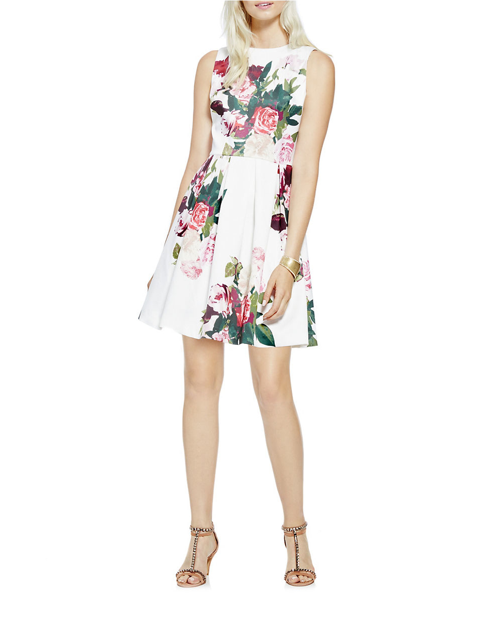 42000827421 Vince Camuto Floral Fit-and-flare Dress in White - Lyst