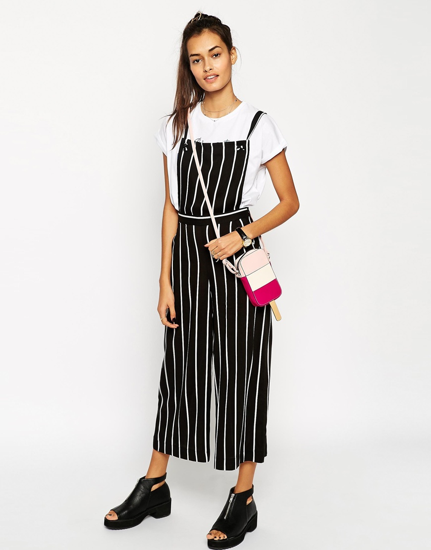 0be78a4d877 Lyst - ASOS Jumpsuit With Pinafore In Stripe in Black