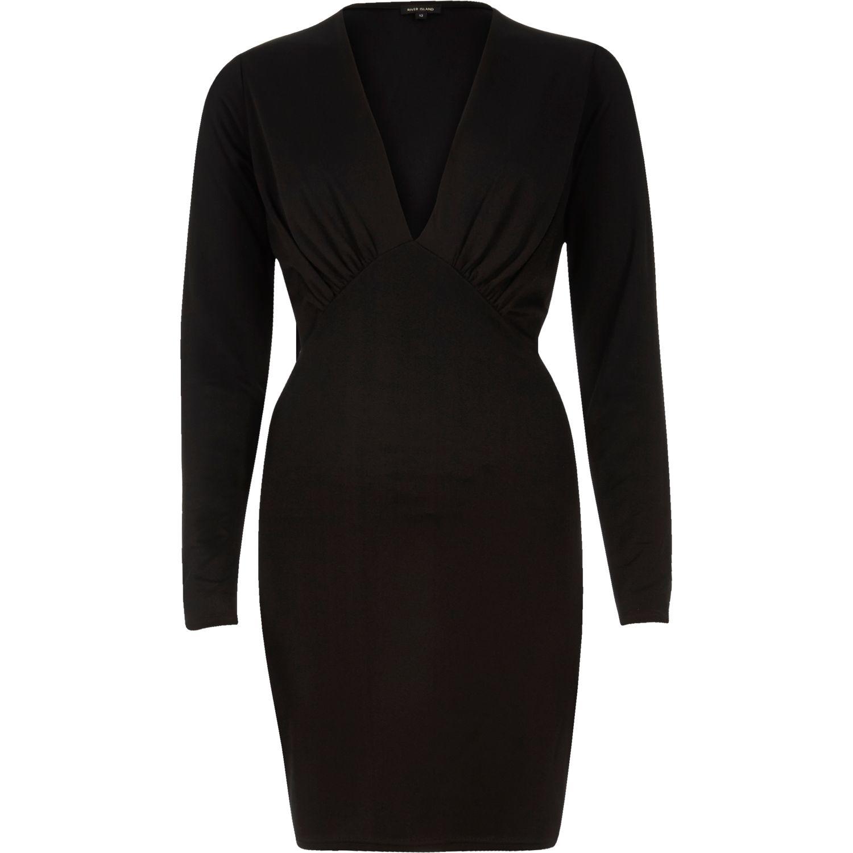 331d0f22e765 Lyst - River Island Black Plunge Neck Bodycon Mini Dress in Black