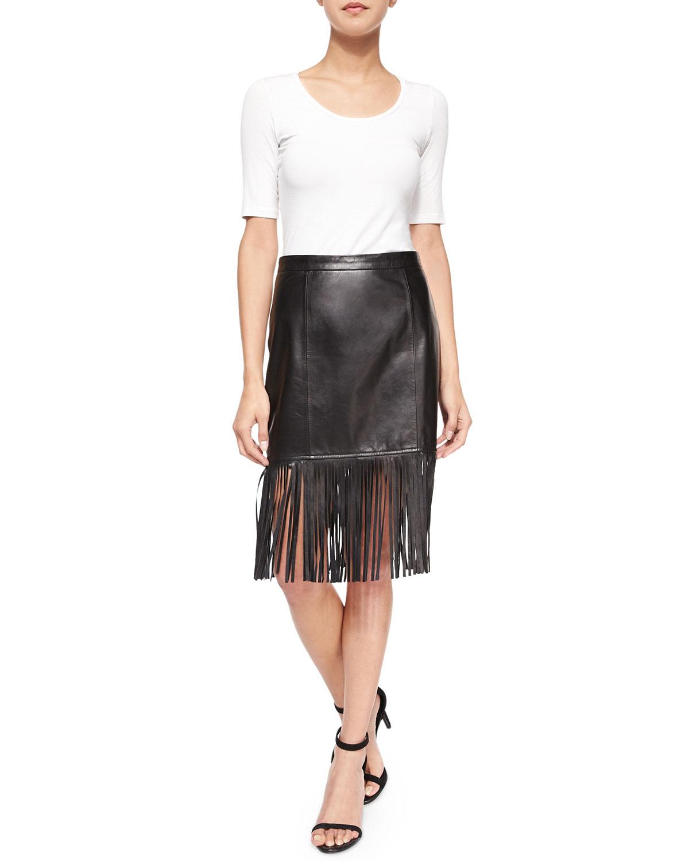 cusp fringe hem leather pencil skirt in black lyst