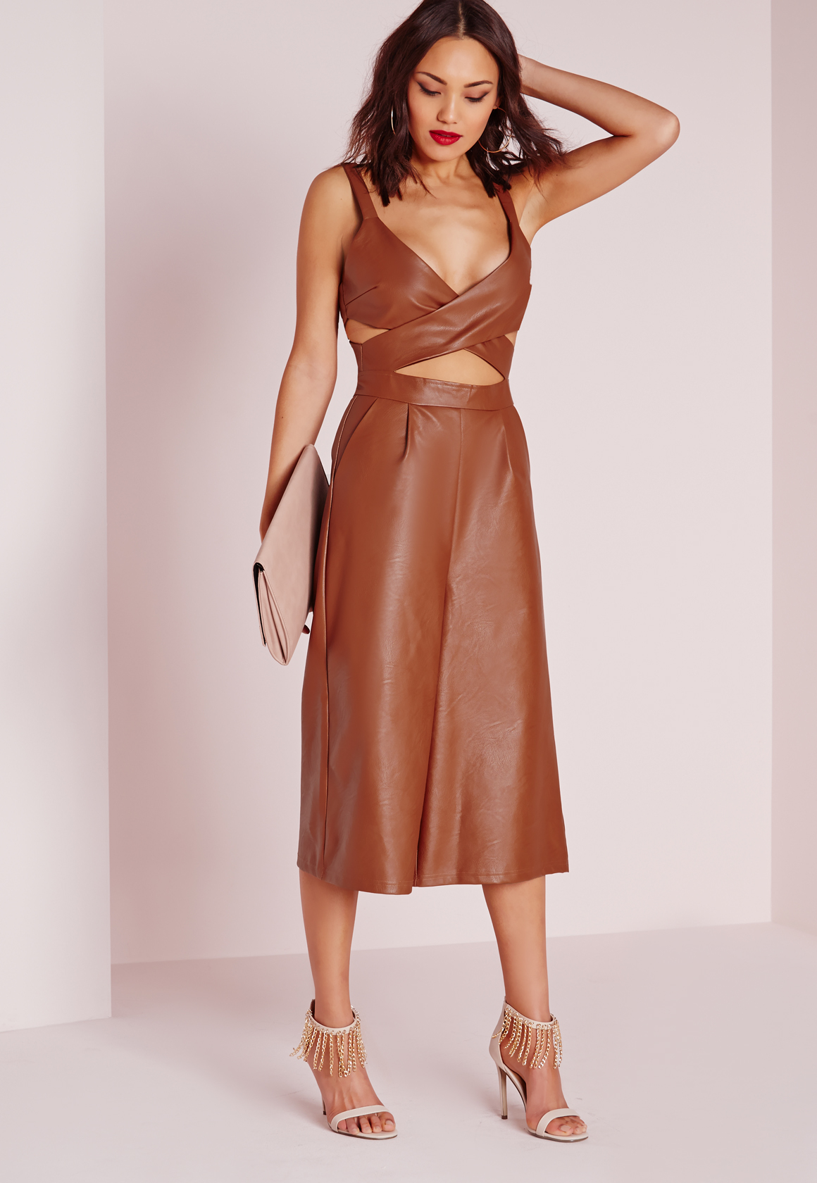 4307a010f9a3 Missguided Faux Leather Cut Out Culotte Jumpsuit Brown in .