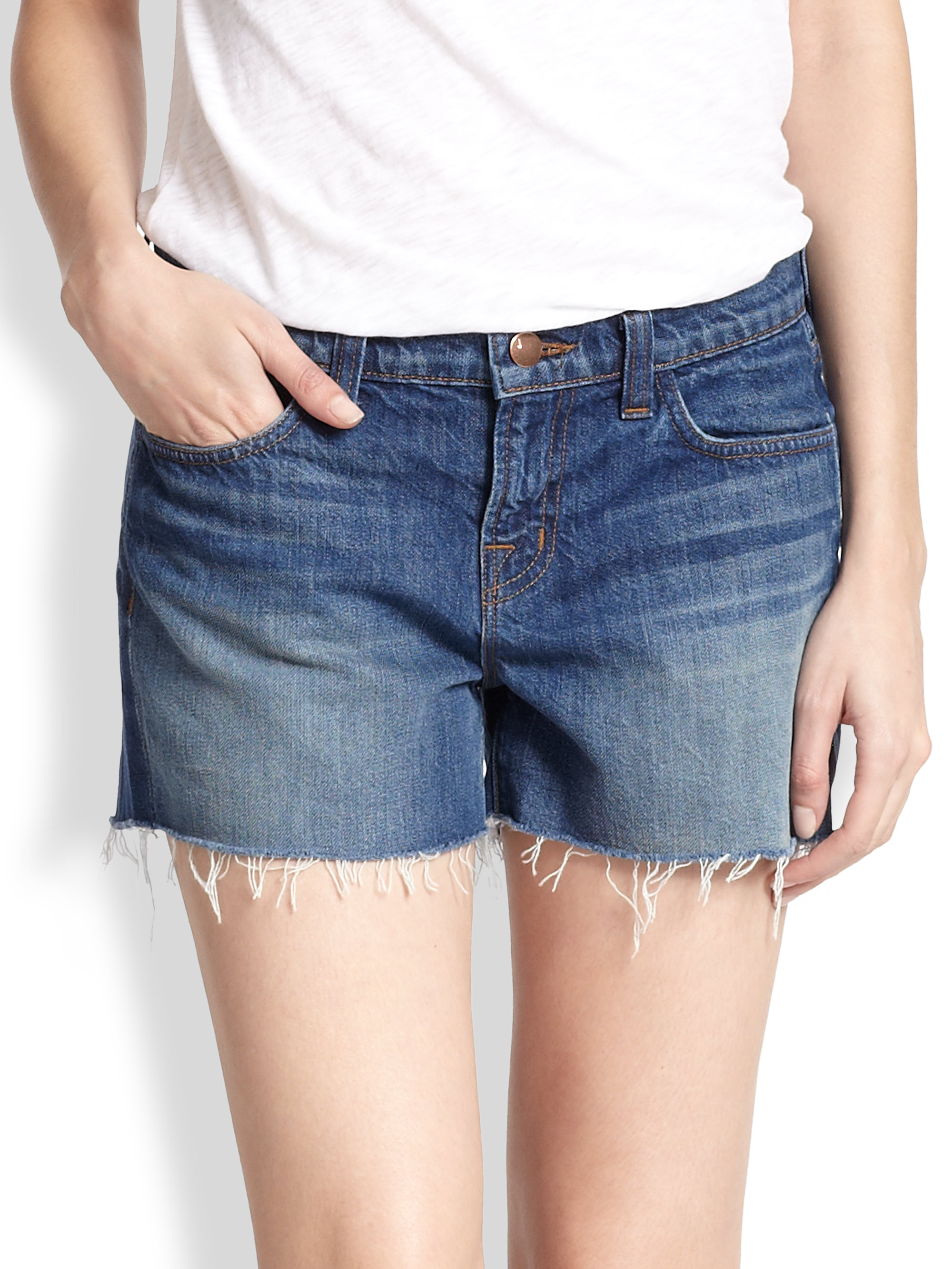 J brand Low-rise Cut-off Denim Shorts in Blue | Lyst