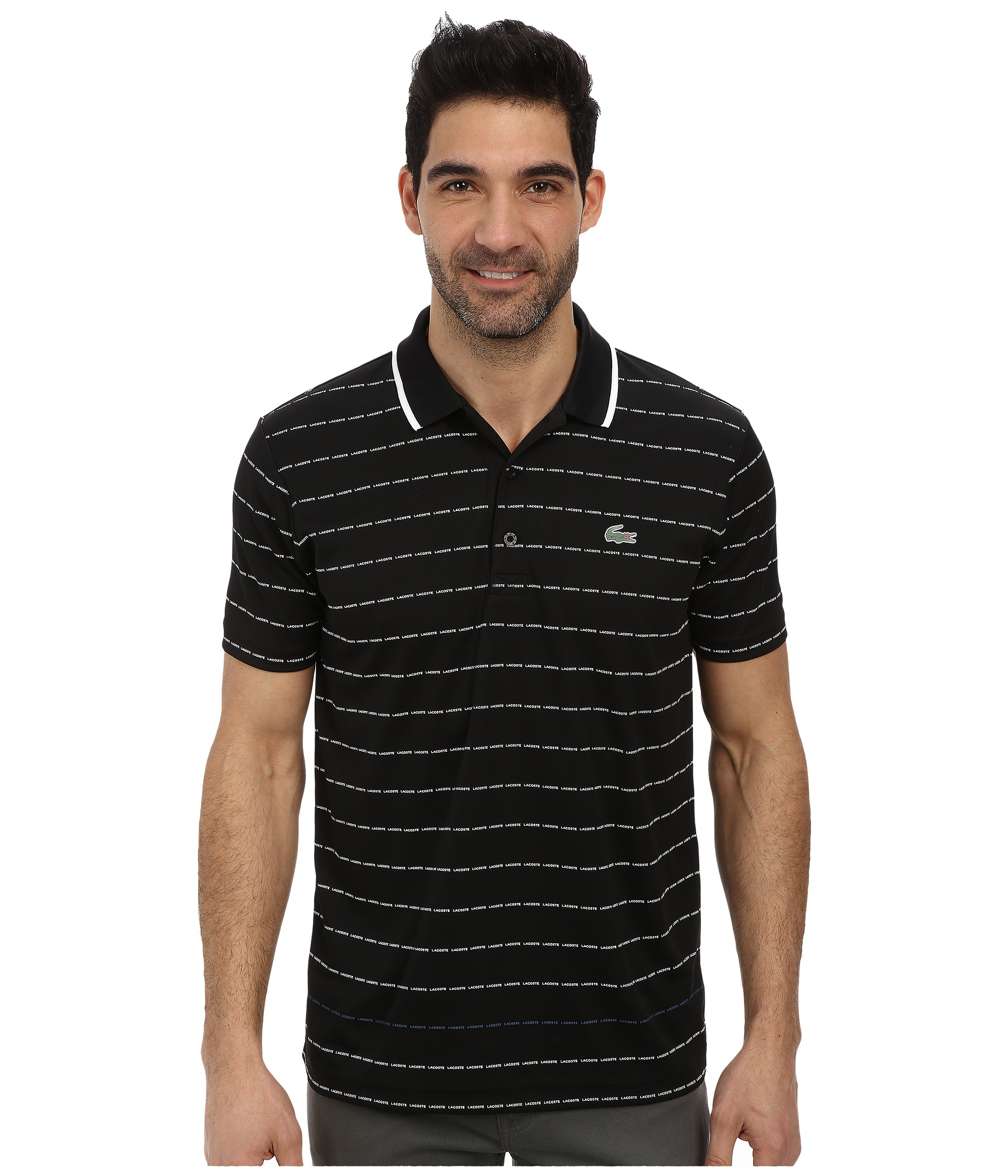 Lyst lacoste sport pique ultra dry stripe polo in black for Lacoste stripe pique polo shirt