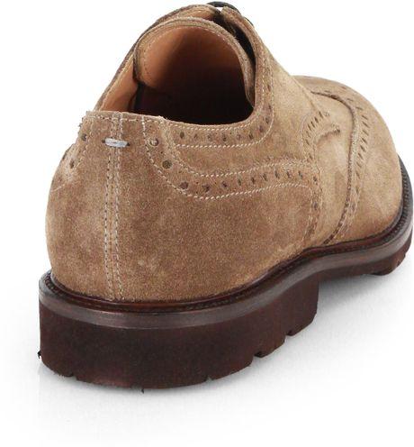 Brunello Cucinelli Suede Wingtip Shoes In Beige For Men Light Beige