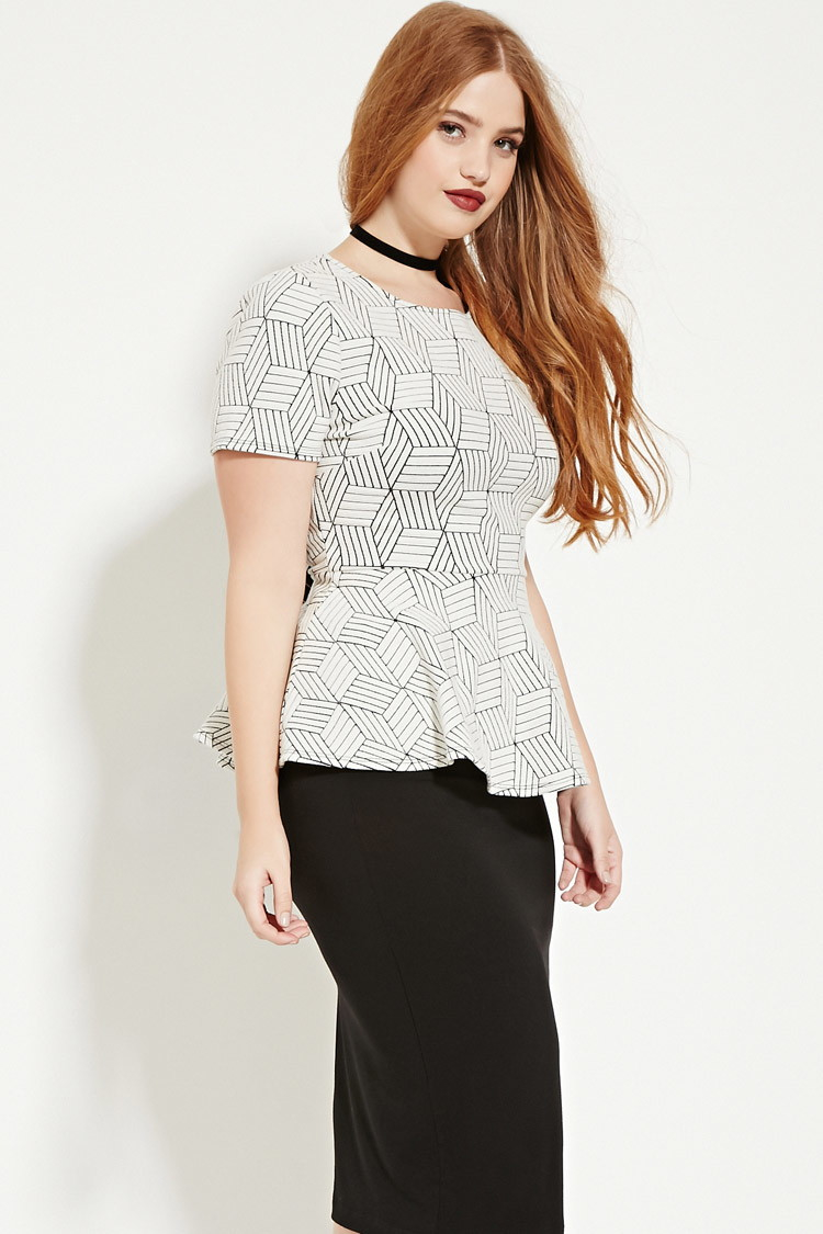 forever 21 plus size geo peplum top in natural | lyst