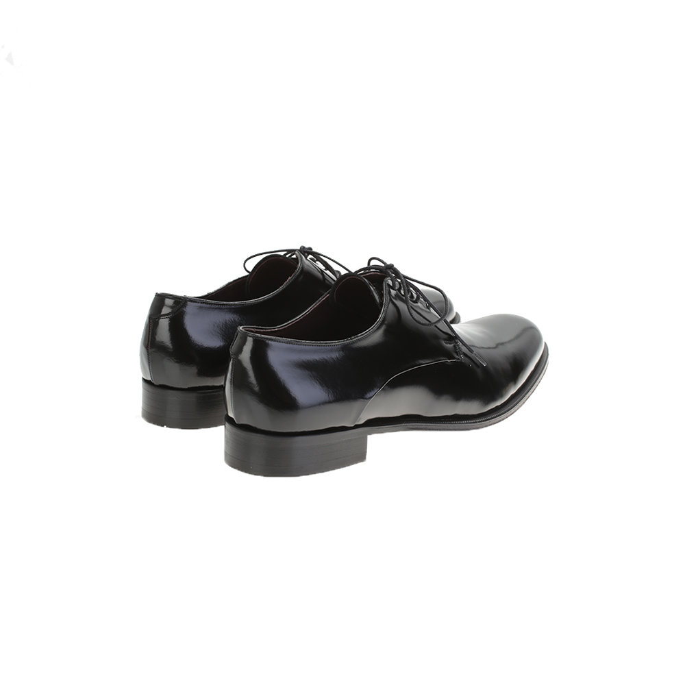 dell oglio black shiny leather shoes in black for lyst