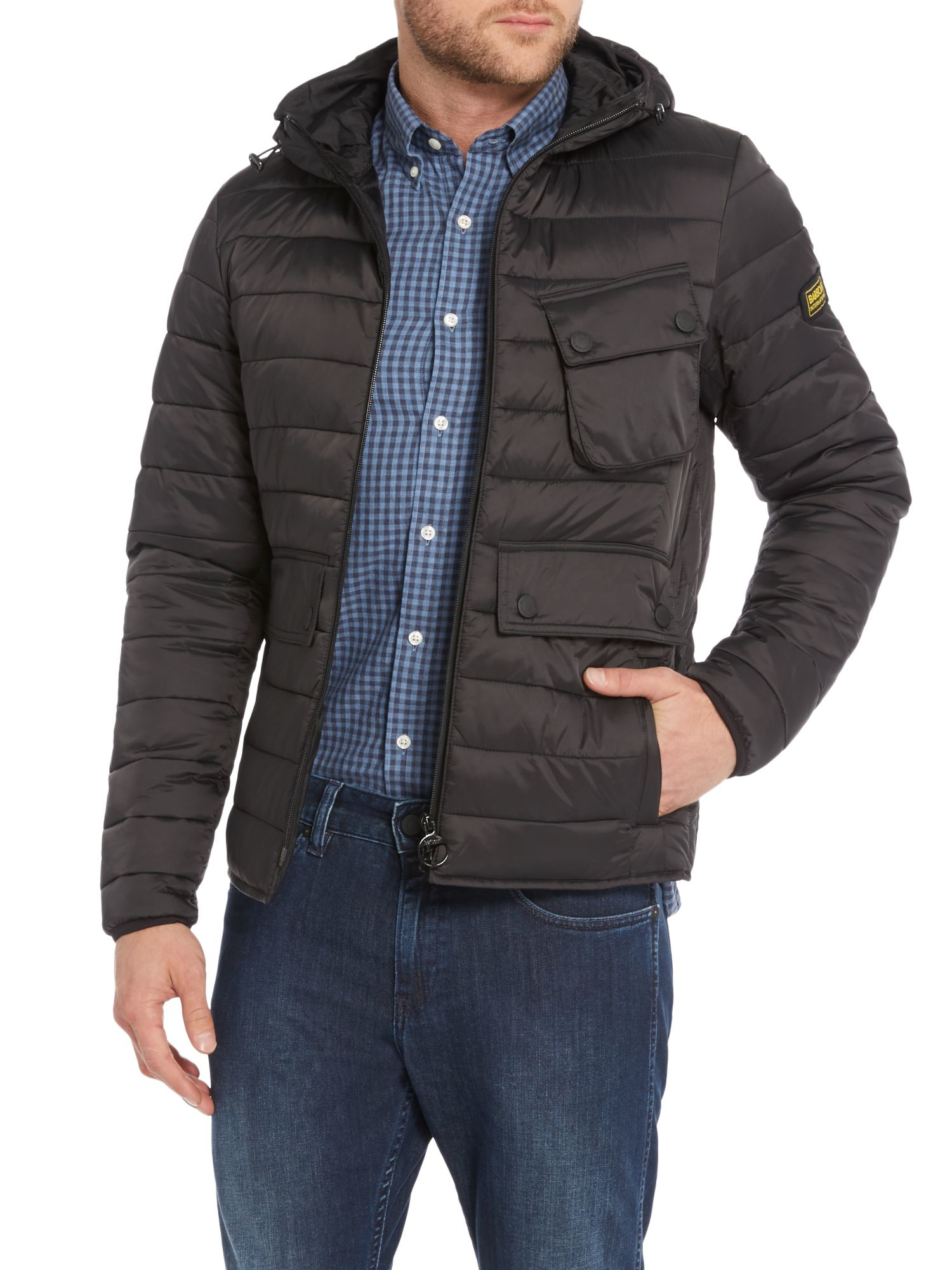 Lyst barbour ouston hooded quilted jacket in black for men for Quilted jackets for men