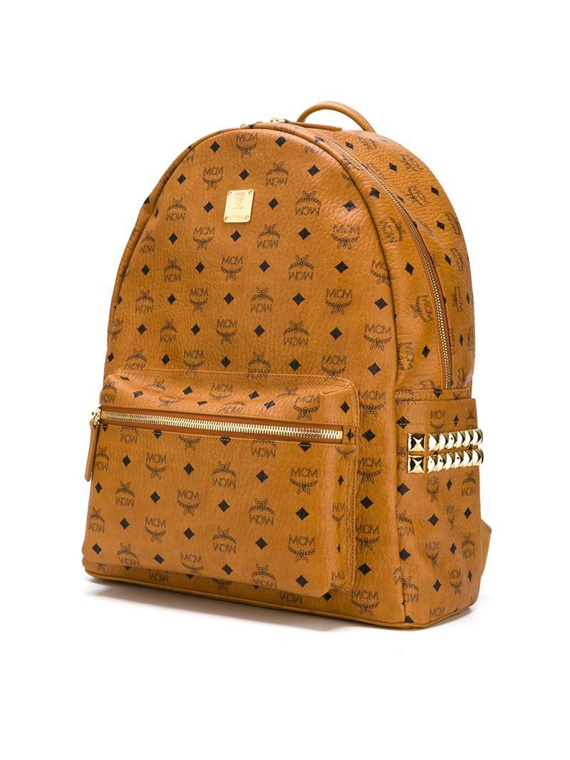 Mcm Medium Stark Backpack In Orange Lyst