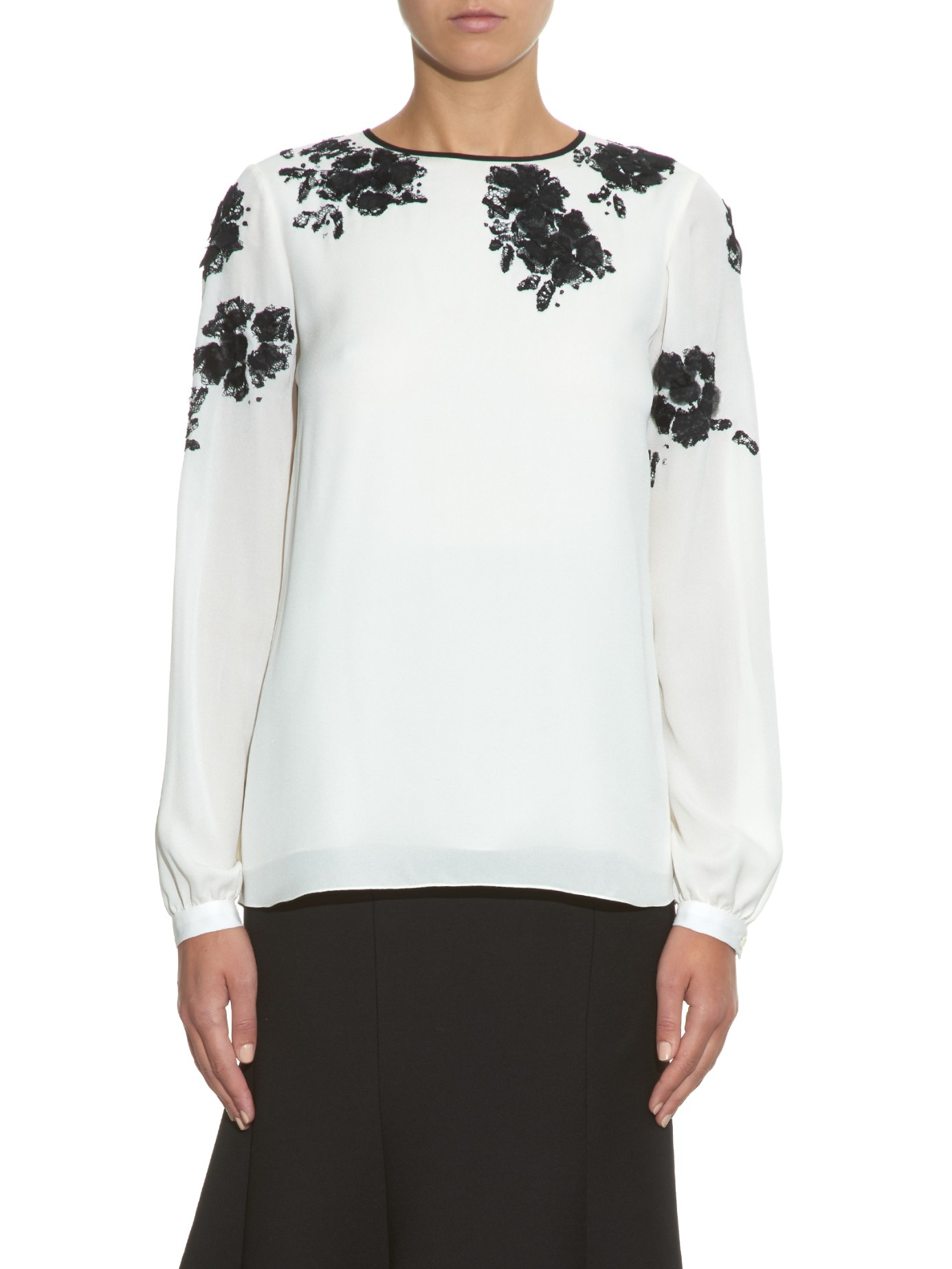 86d487f4618bc Lyst - Oscar de la Renta Floral-lace Embroidery Silk Blouse in Black