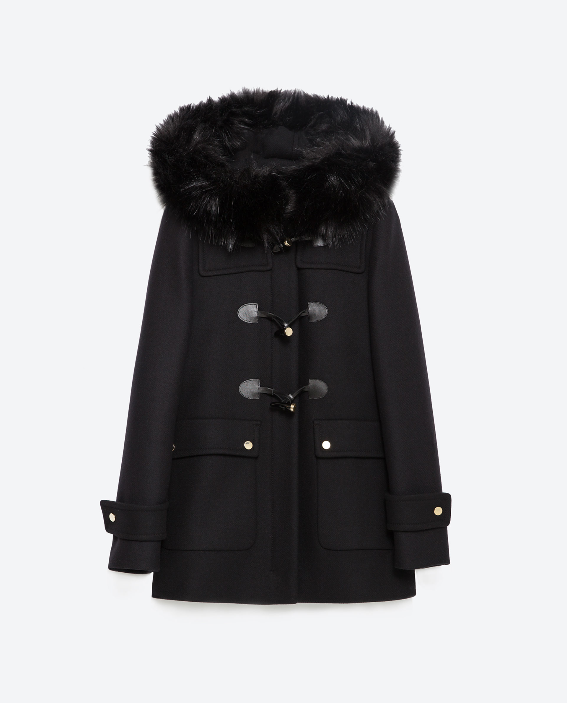 zara duffle coat with faux fur lined hood in black lyst. Black Bedroom Furniture Sets. Home Design Ideas