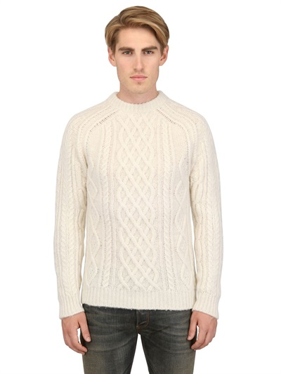 Lyst Dior Homme Woolsilk Blend Cable Knit Sweater In White For Men