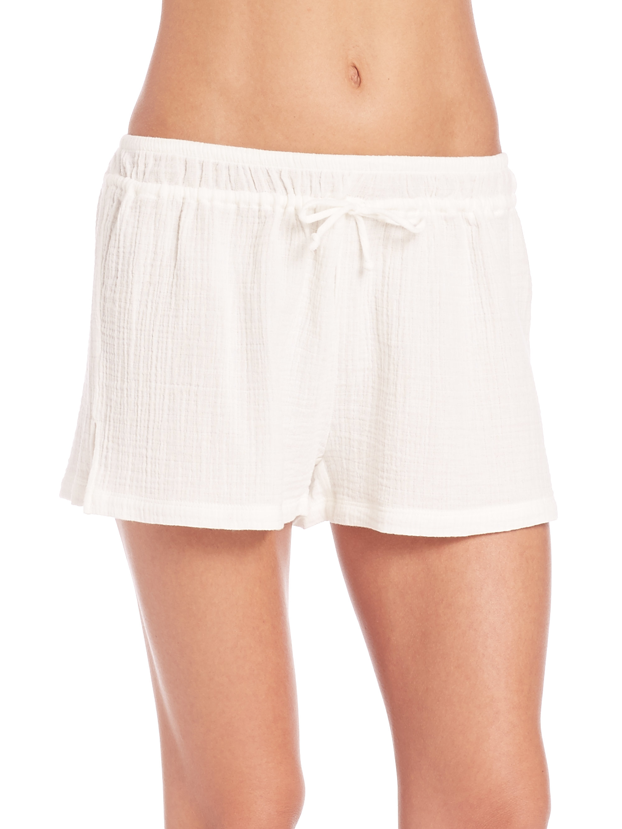 Skin Cotton Gauze Shorts in White | Lyst