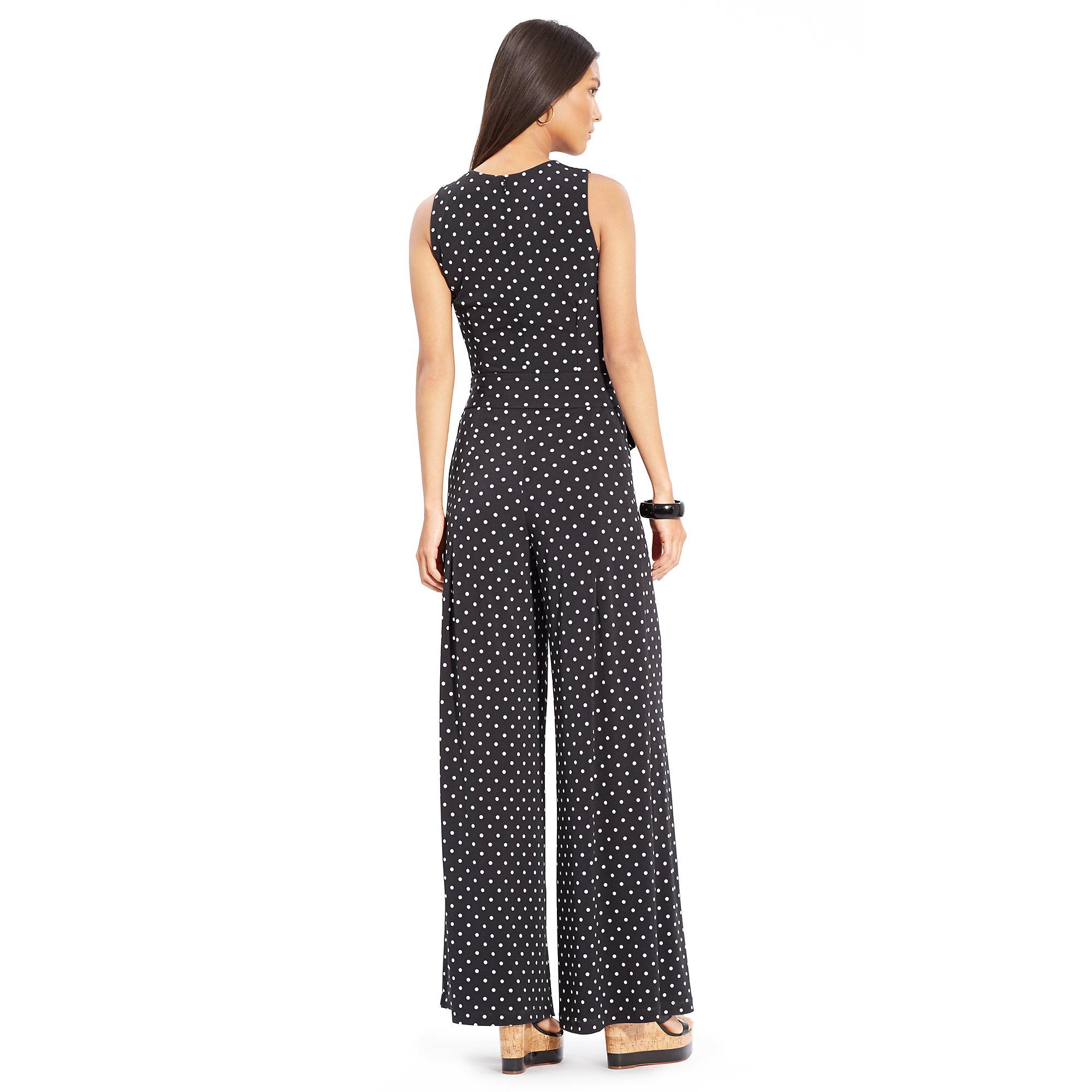 2e903ec7b635 Lyst - Lauren by Ralph Lauren Petite Sleeveless Polka-Dot Jumpsuit ...