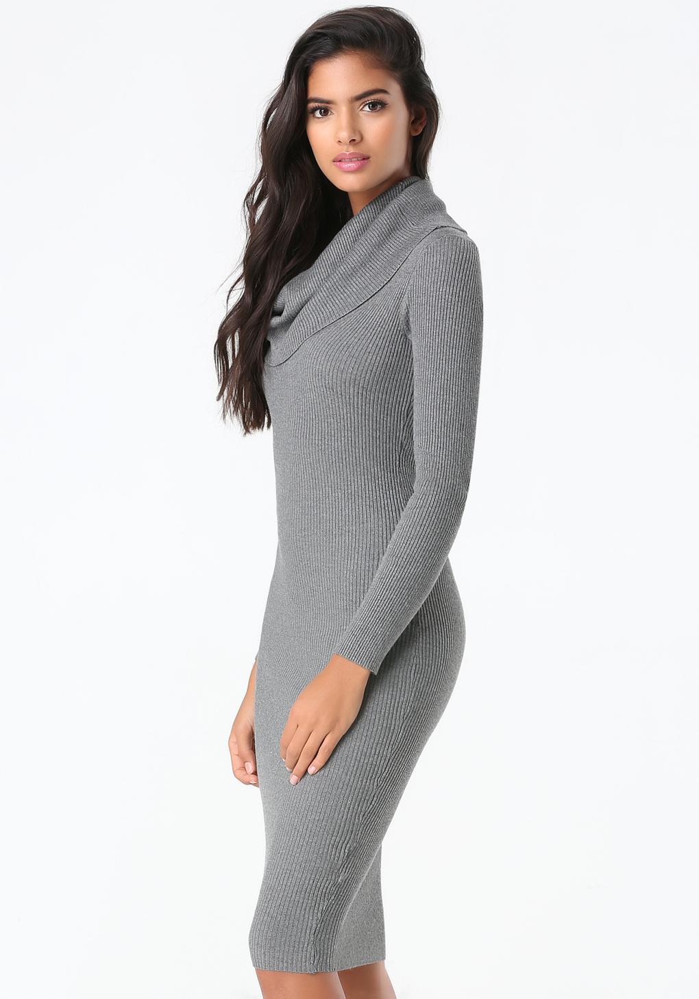 49f7dad00e2 Bebe Cowl Neck Sweater Dress in Gray - Lyst